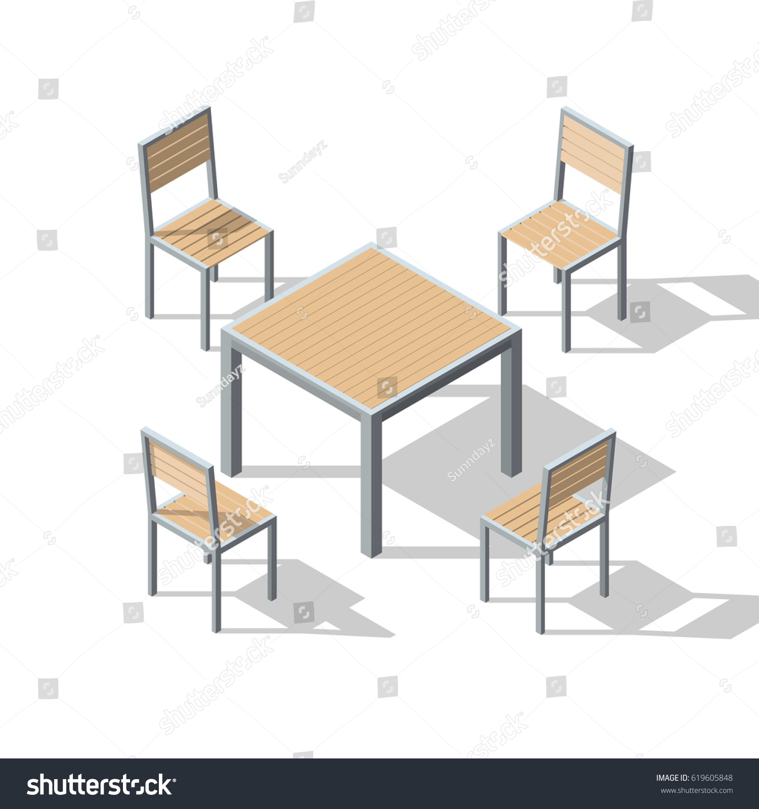 Isometric Set Table Chairs Cafe Furniture Stock Vector