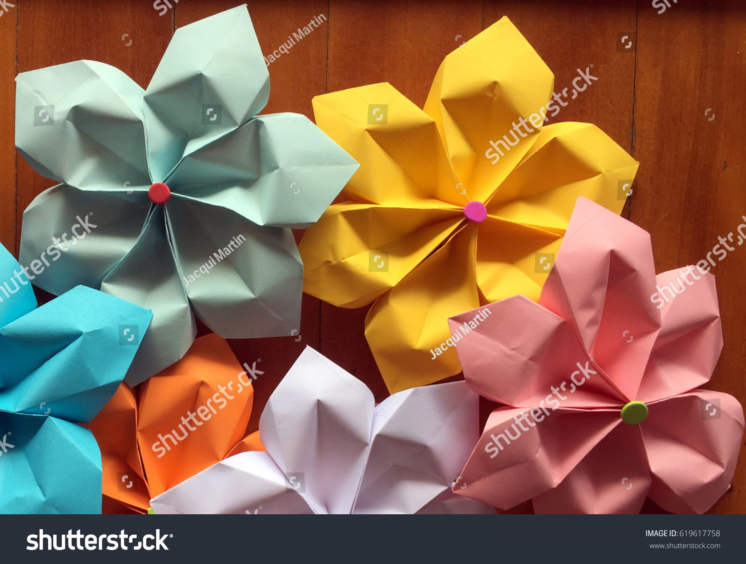 Pretty Colorful Flowers Made Out Paper Stock Photo 100 Legal