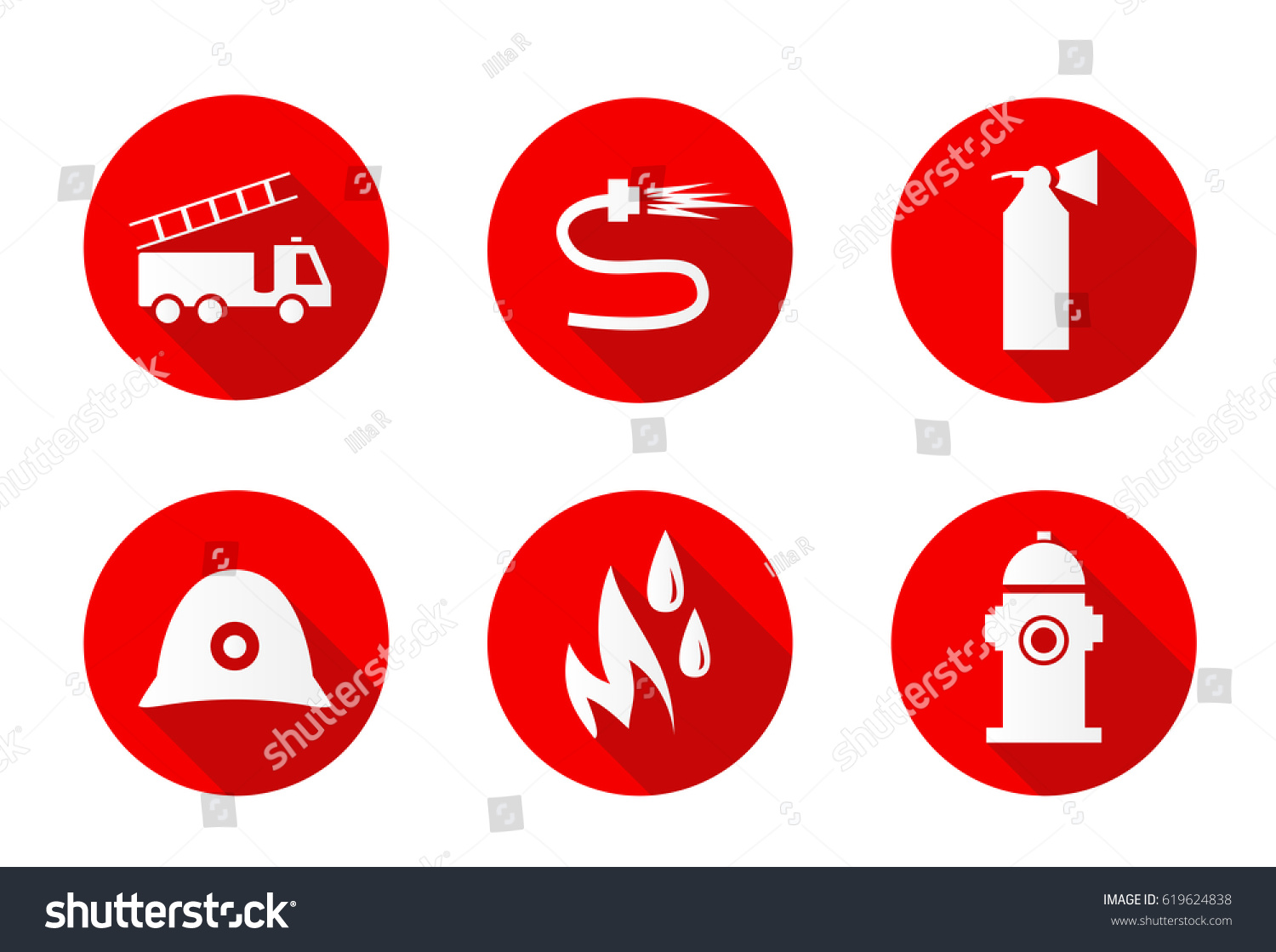Firefighting Icons Six Different Flat Icons Stock Vector 619624838
