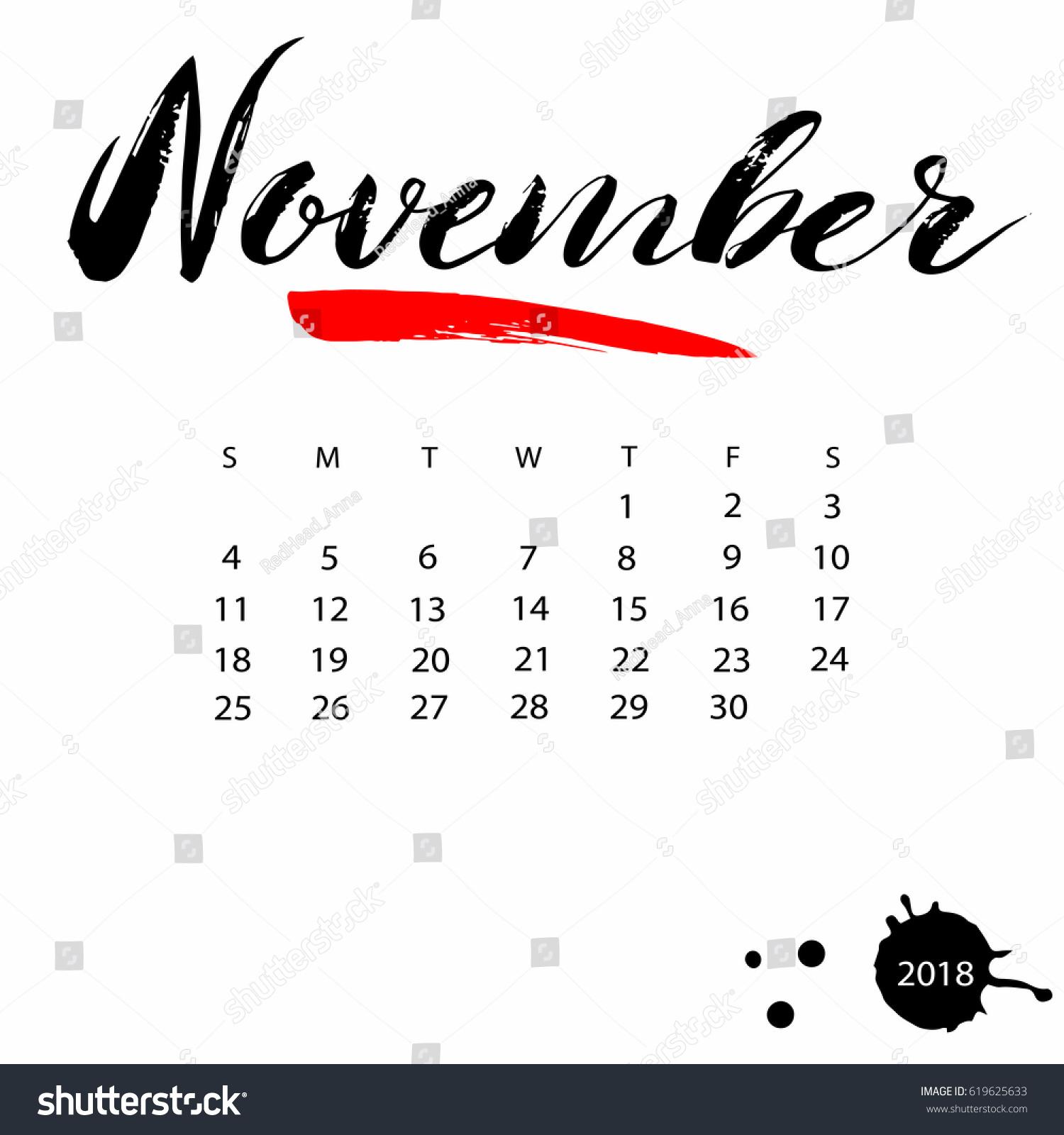 Calendar Typography Vector : Vector calendar november hand drawn stock