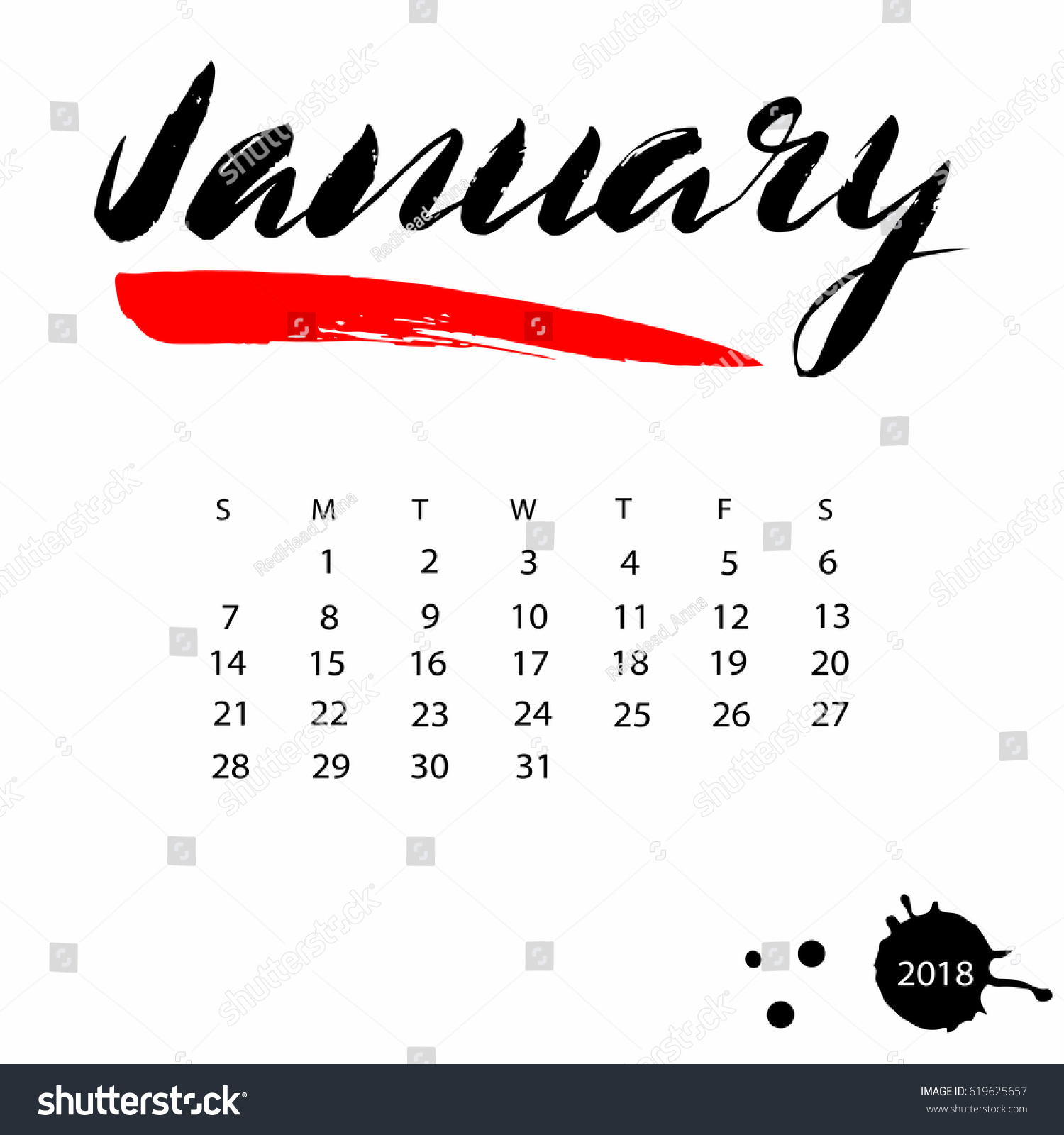 Vector Calendar For January 2018 Hand Drawn Letters Design