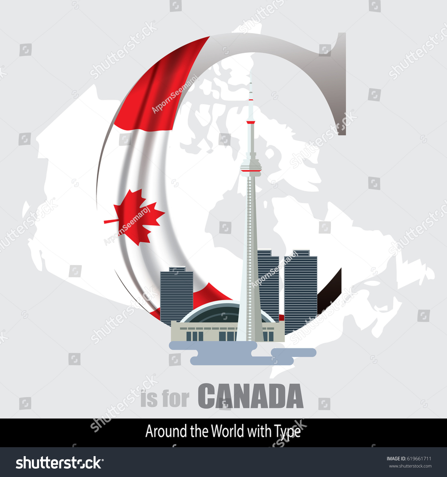 Vector Letter C Canada Design Matches Stock Vector (Royalty