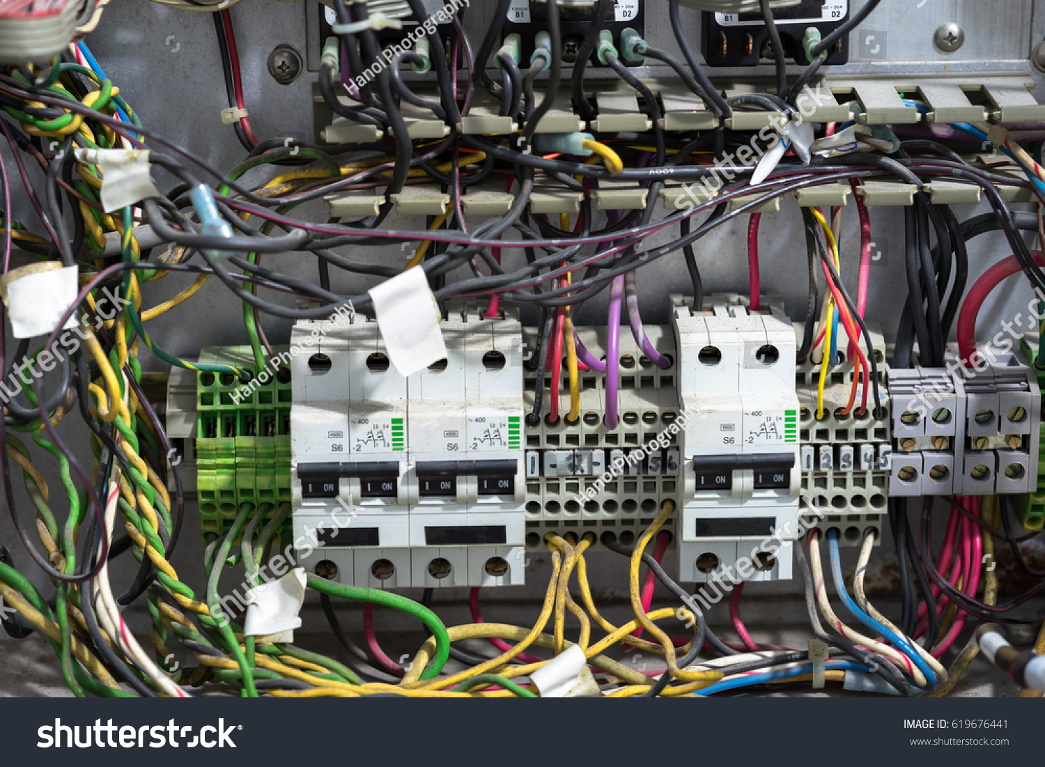Old Messy Electrical Panel Stock Photo Edit Now 619676441 Wiring A