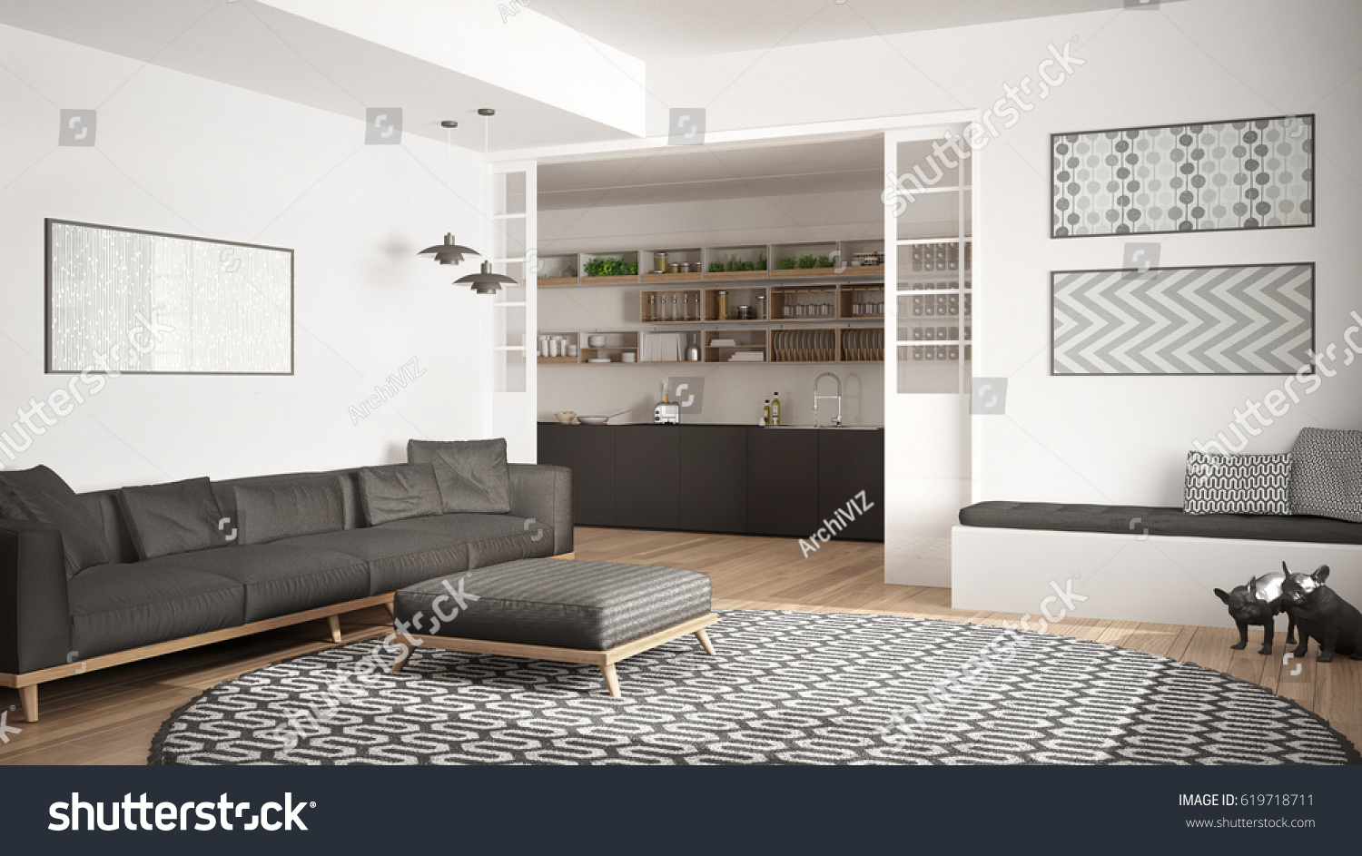 Nice Minimalist Living Room With Sofa, Big Round Carpet And Kitchen In The  Background, White Nice Ideas