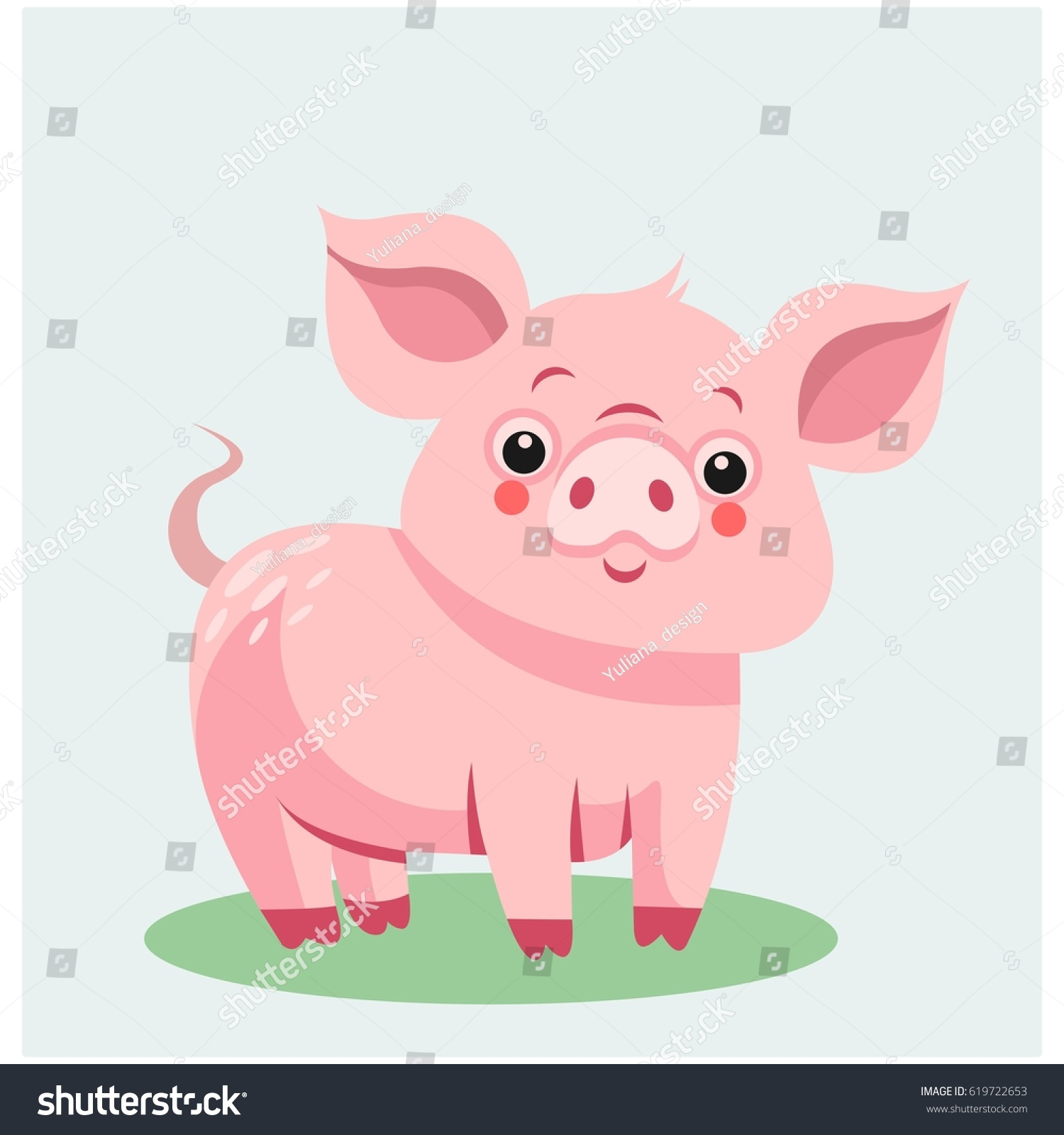 cute pink pig cartoon character animal ez canvas