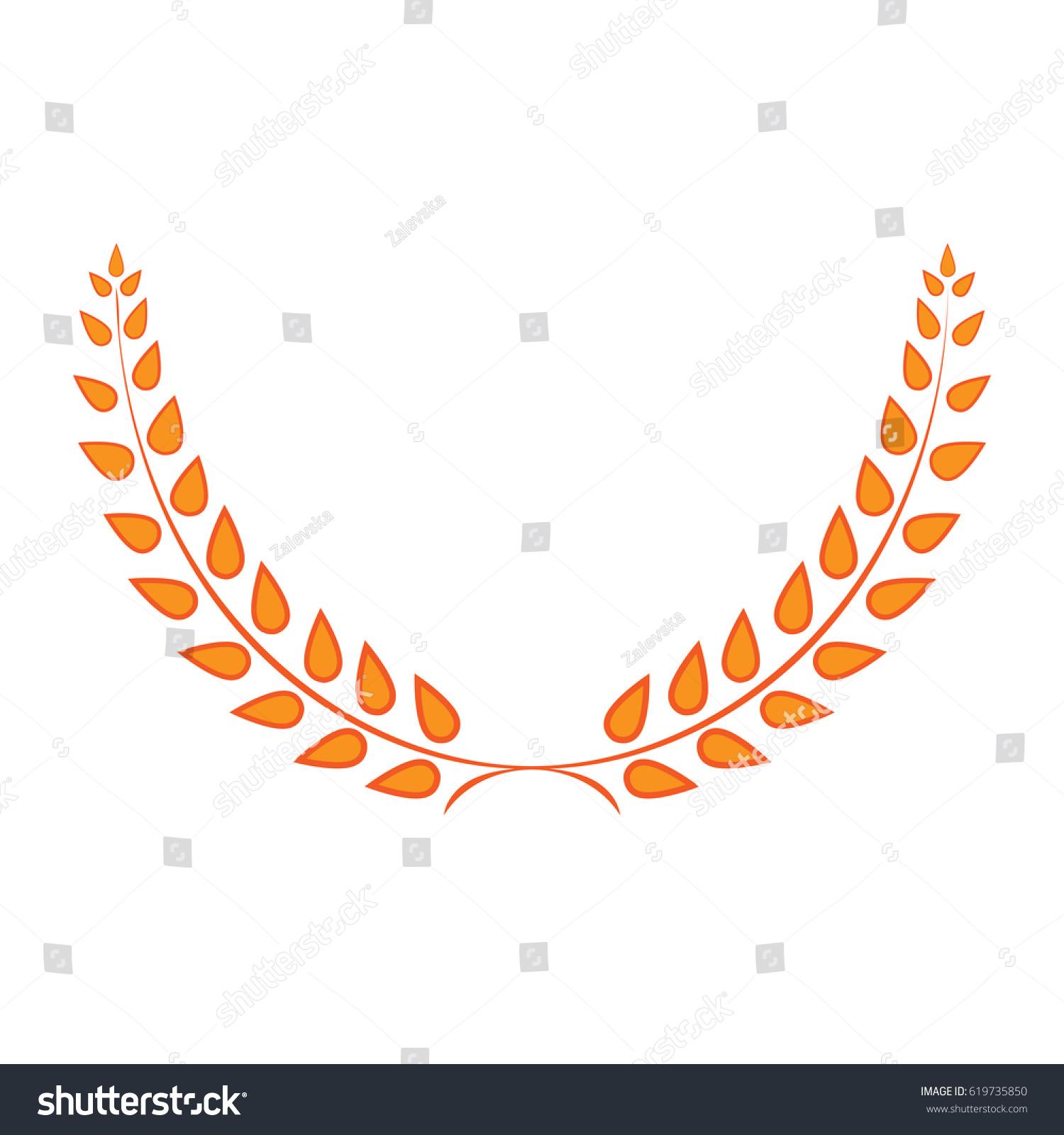 Sign Laurel Wreath Golden Gold Icon Stock Vector 619735850