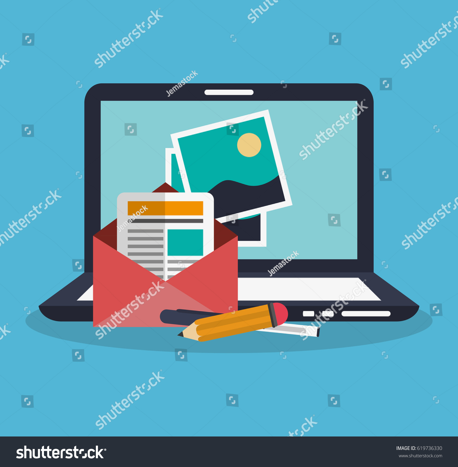 Computer Instant Messaging Related Icons Image Stock Vector