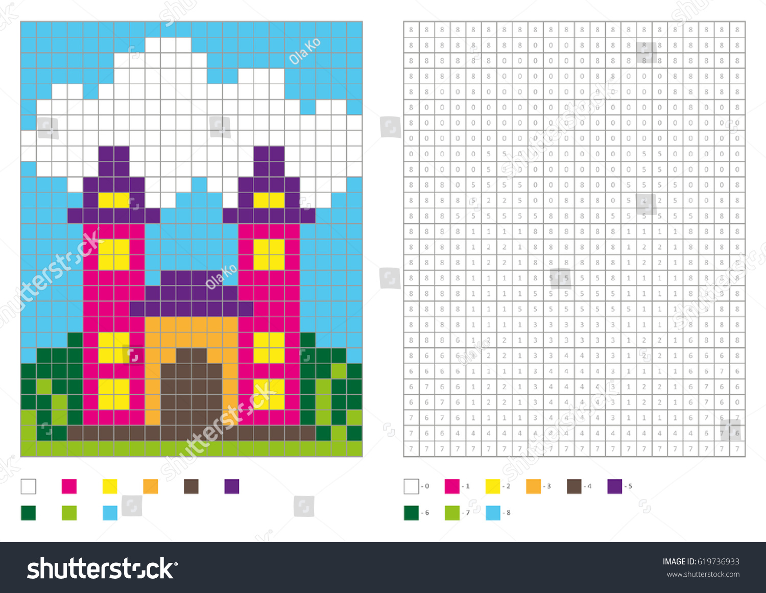 coloring book numbered squares kids coloring stock vector
