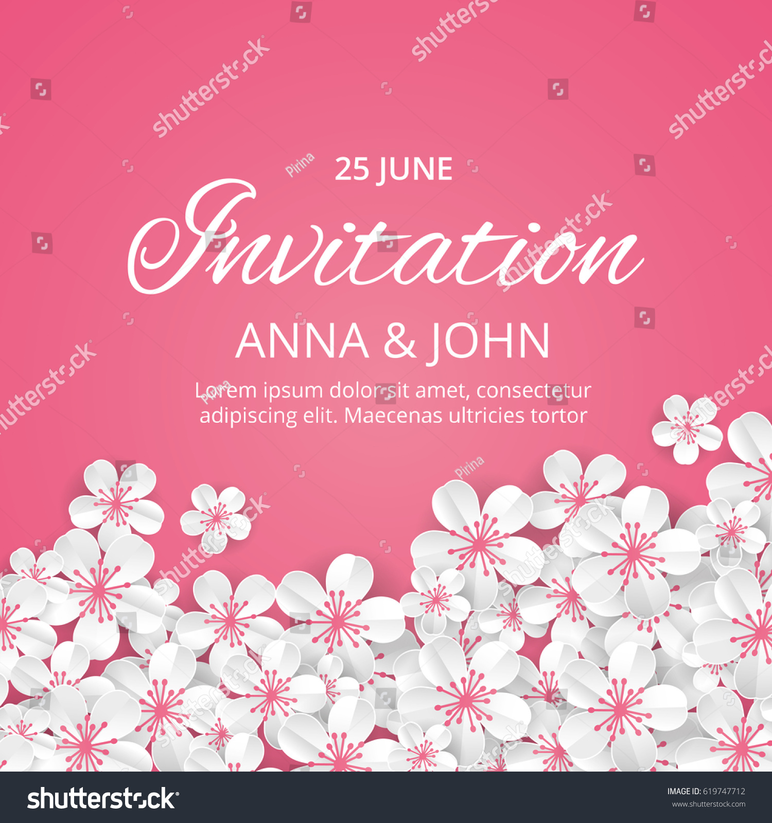 Flower Wedding Paper Invitation Weddings Background Stock Vector