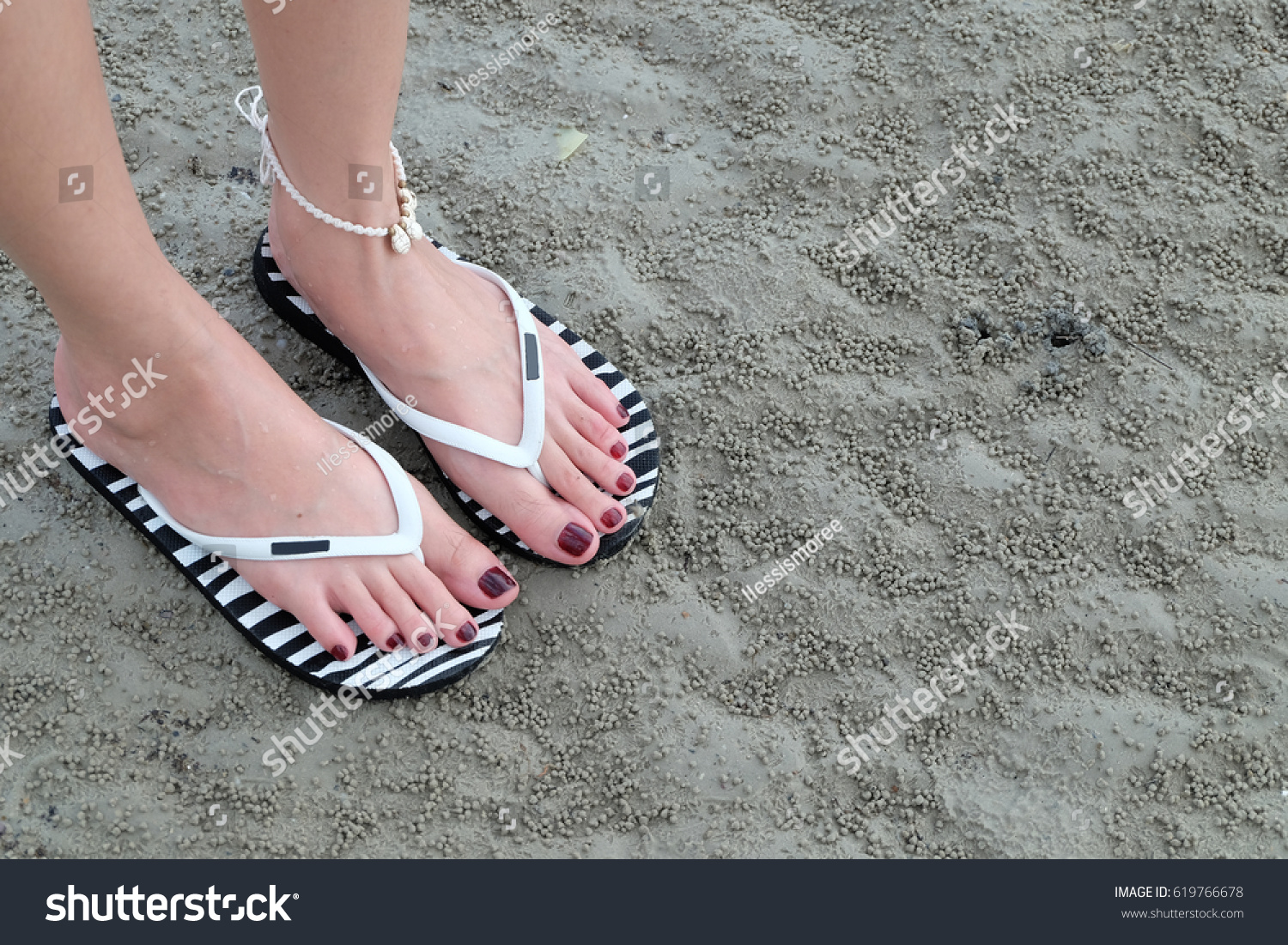 da541062397f79 Close Girls Feet Walking Flip Flops Stock Photo (Edit Now) 619766678 ...