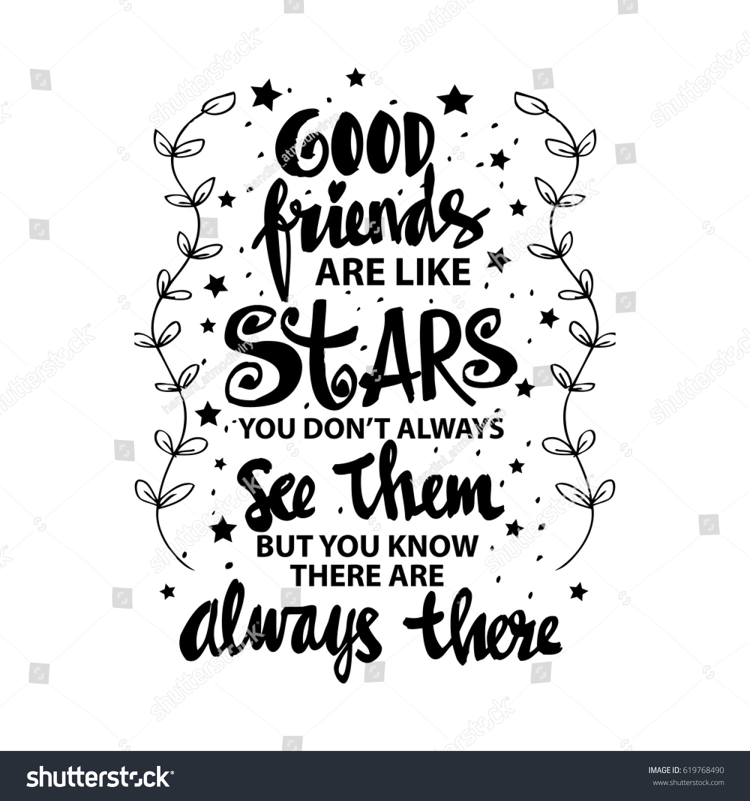 Good Friends Like Stars You Do Stockvector Rechtenvrij 619768490