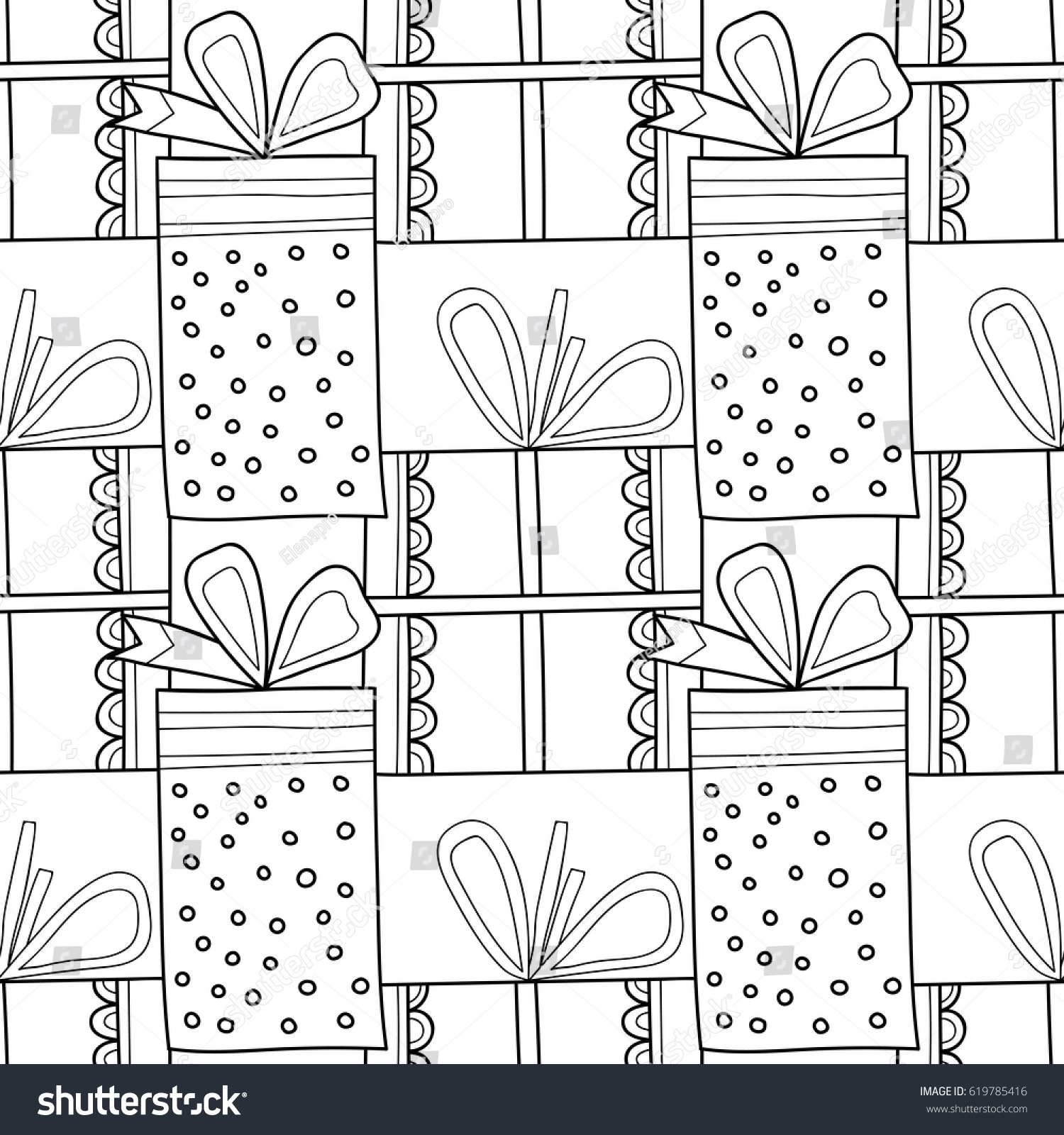 black white seamless patterns gift boxes stock vector 619785416