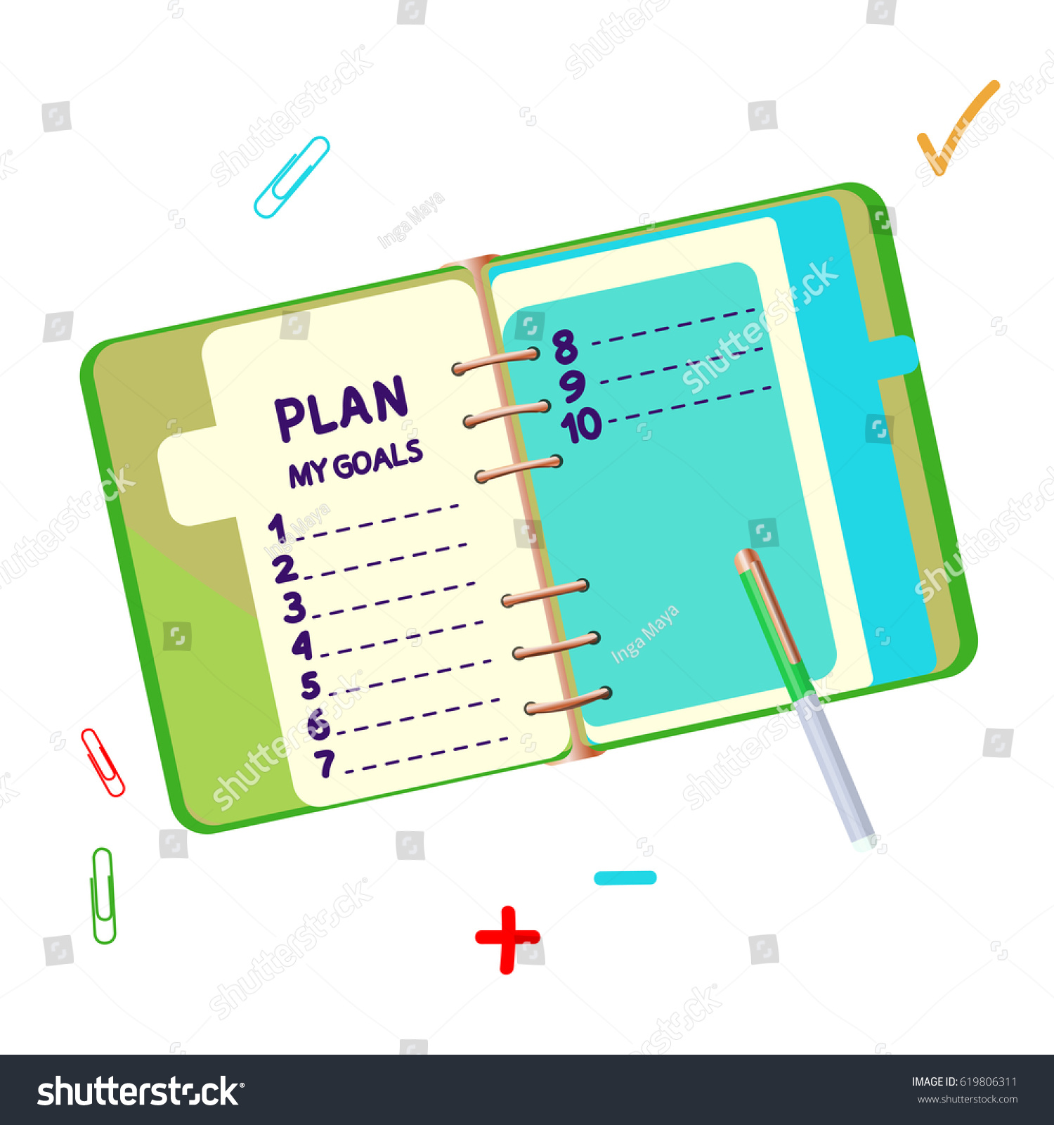 Diary New Plan Blank List Isolated Stock Vector Royalty Free