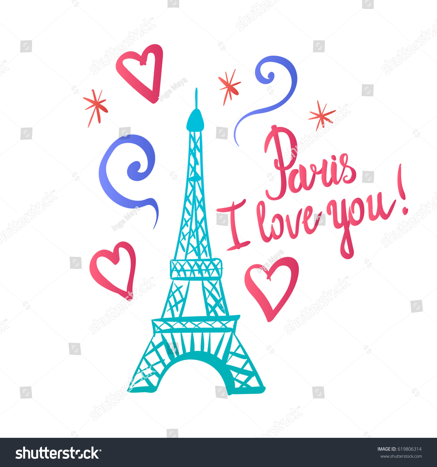 Paris I Love You Illustration Color Ink Eiffel Tower Hand Drawing Vector