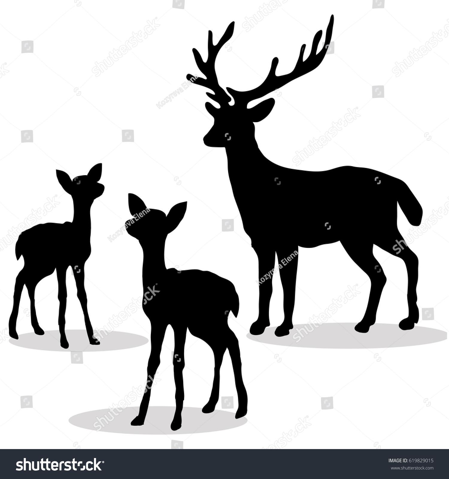 Deer Family Silhouette Black On White Stock Vector