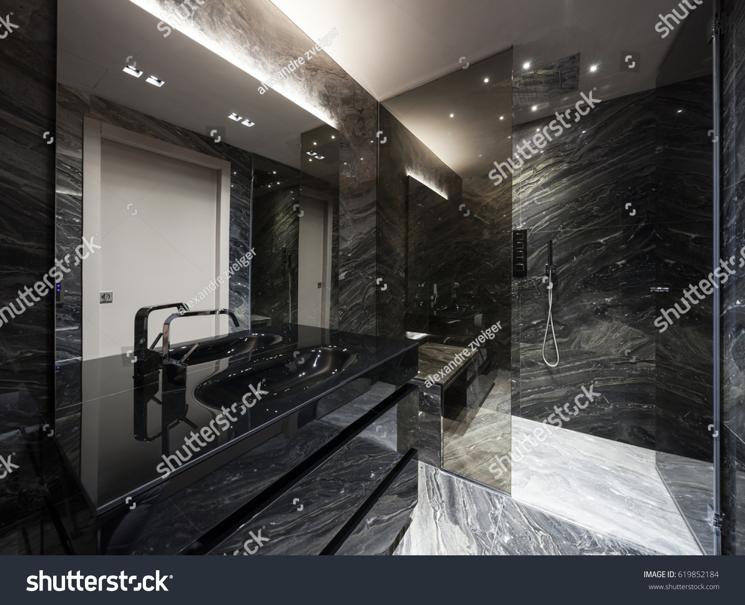Interior Modern Bathroom Black Marble Stock Photo Edit Now 619852184