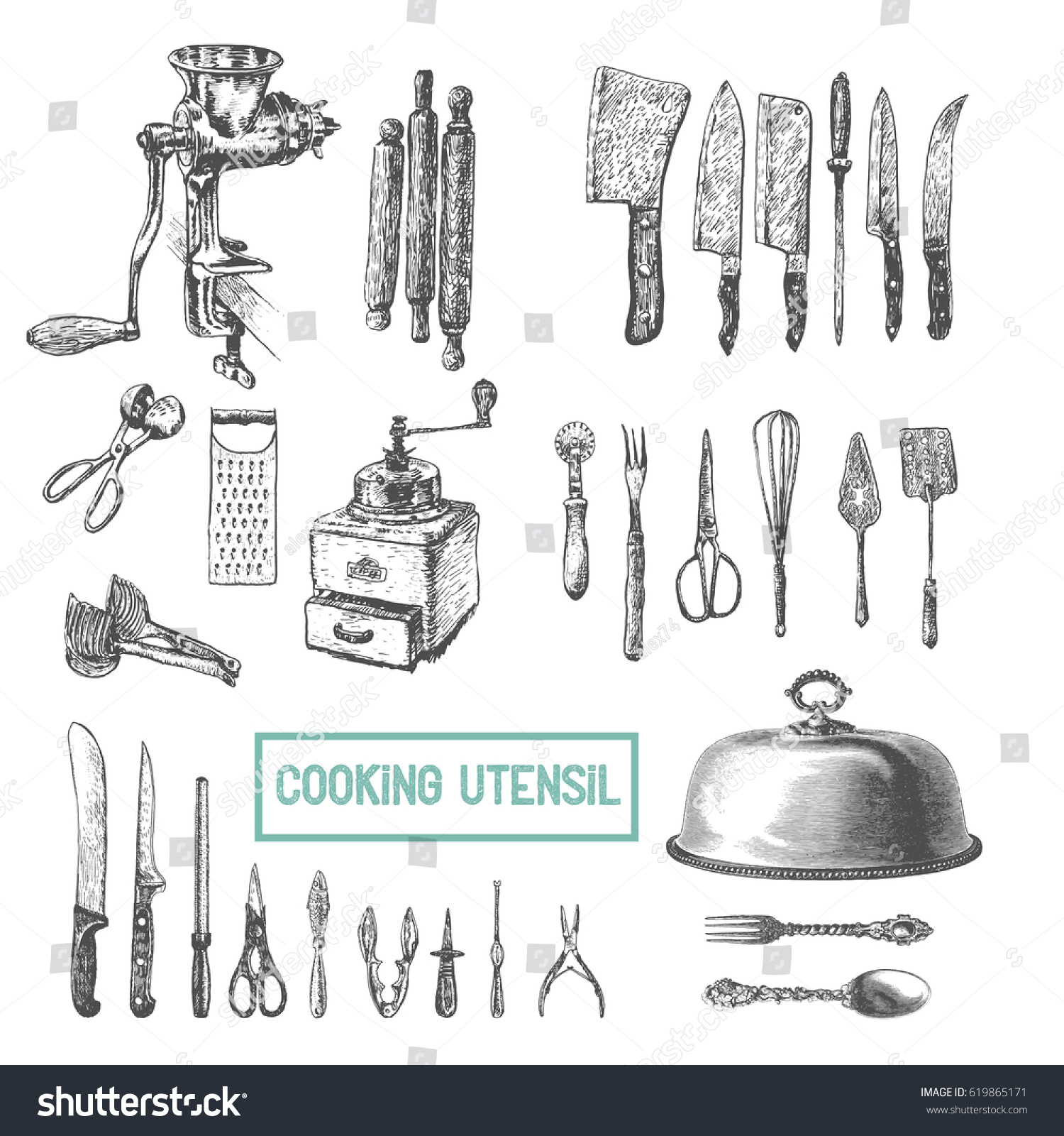 Kitchen Utensils Set Vector Large Collection Stock Vector