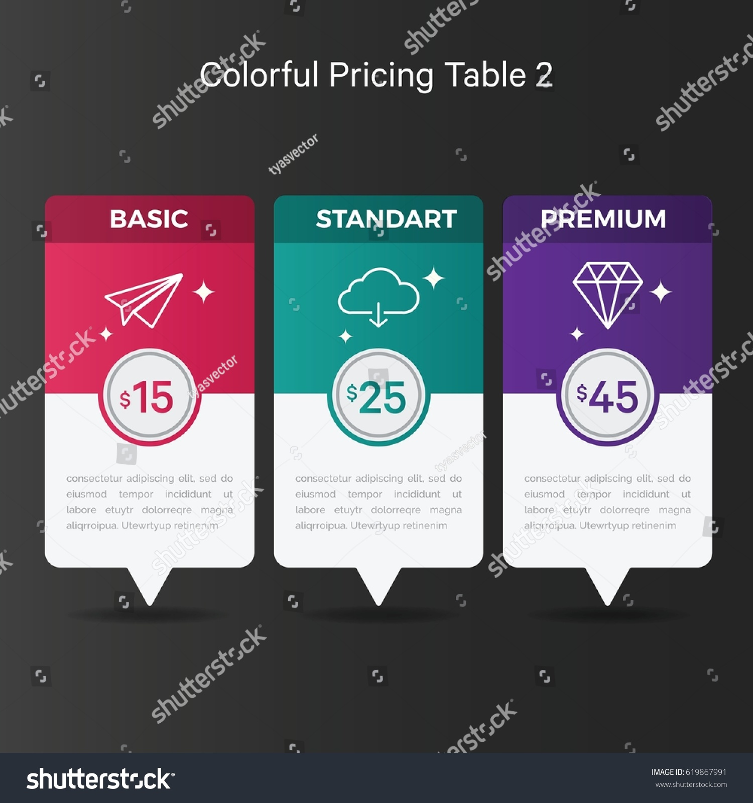 colorful pricing table graphic design elements stock vector (royalty