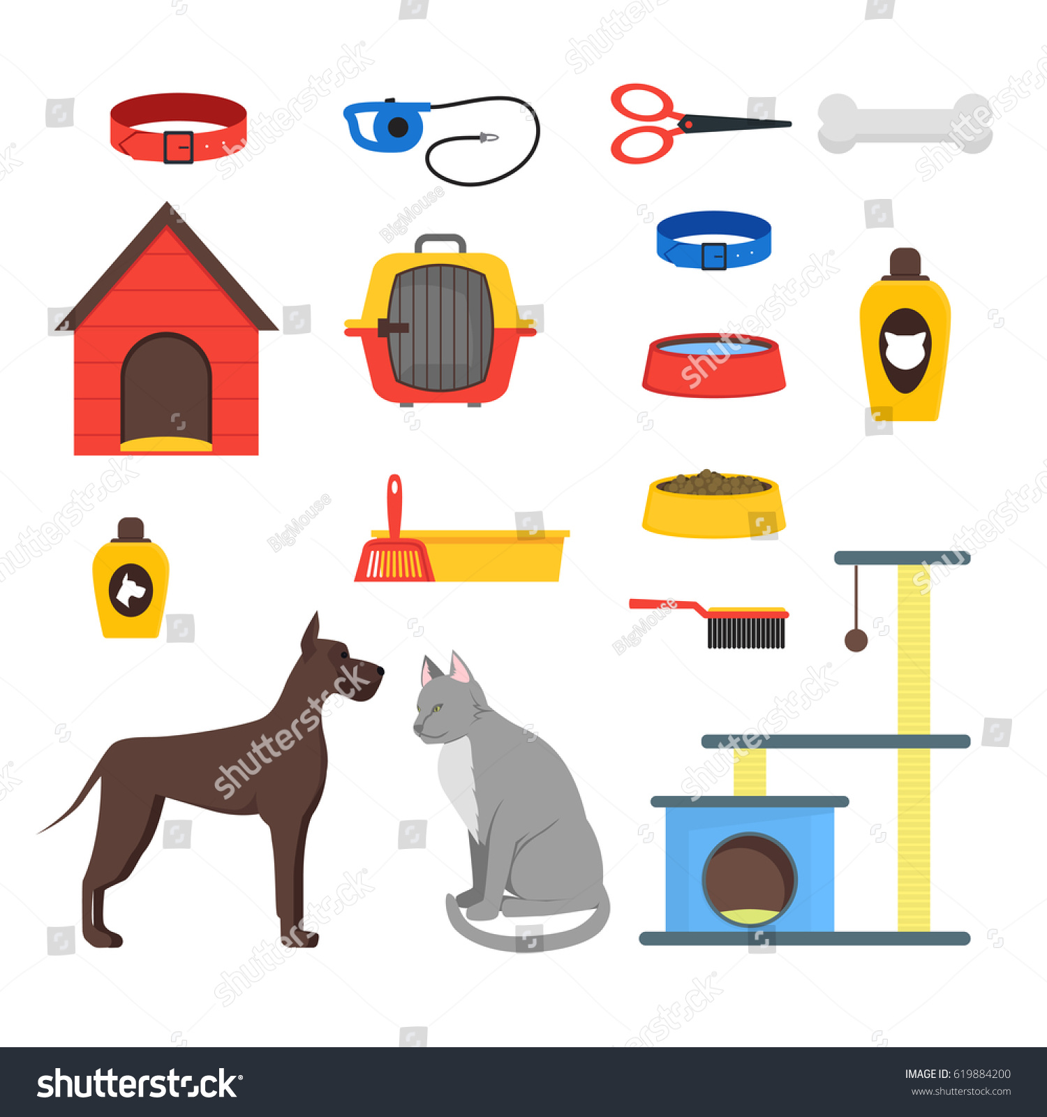 Cartoon Domestic Pets Care Set Accessories Stock Vector 619884200 ...
