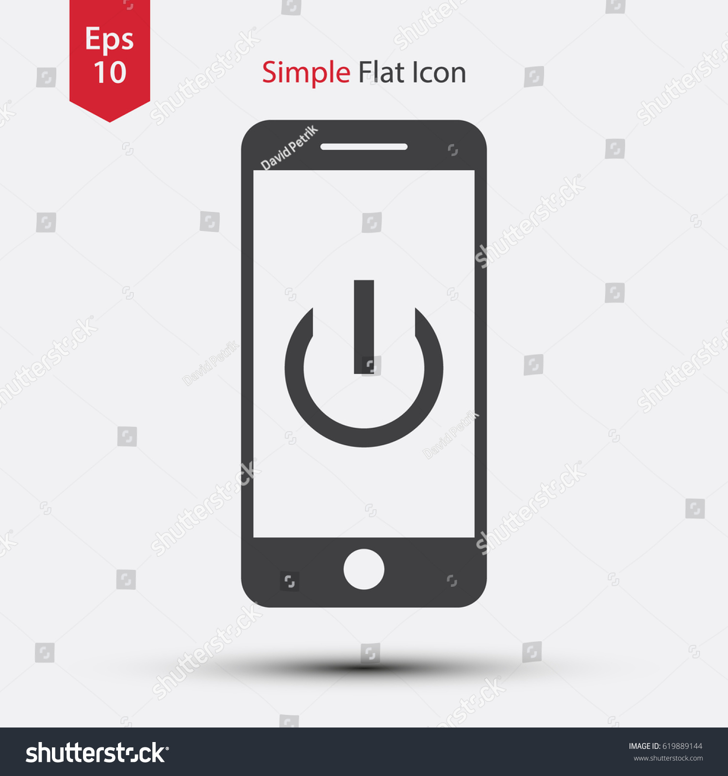 Realistic Modern Phone Flat Icon Simple Stock Vector 619889144 ...