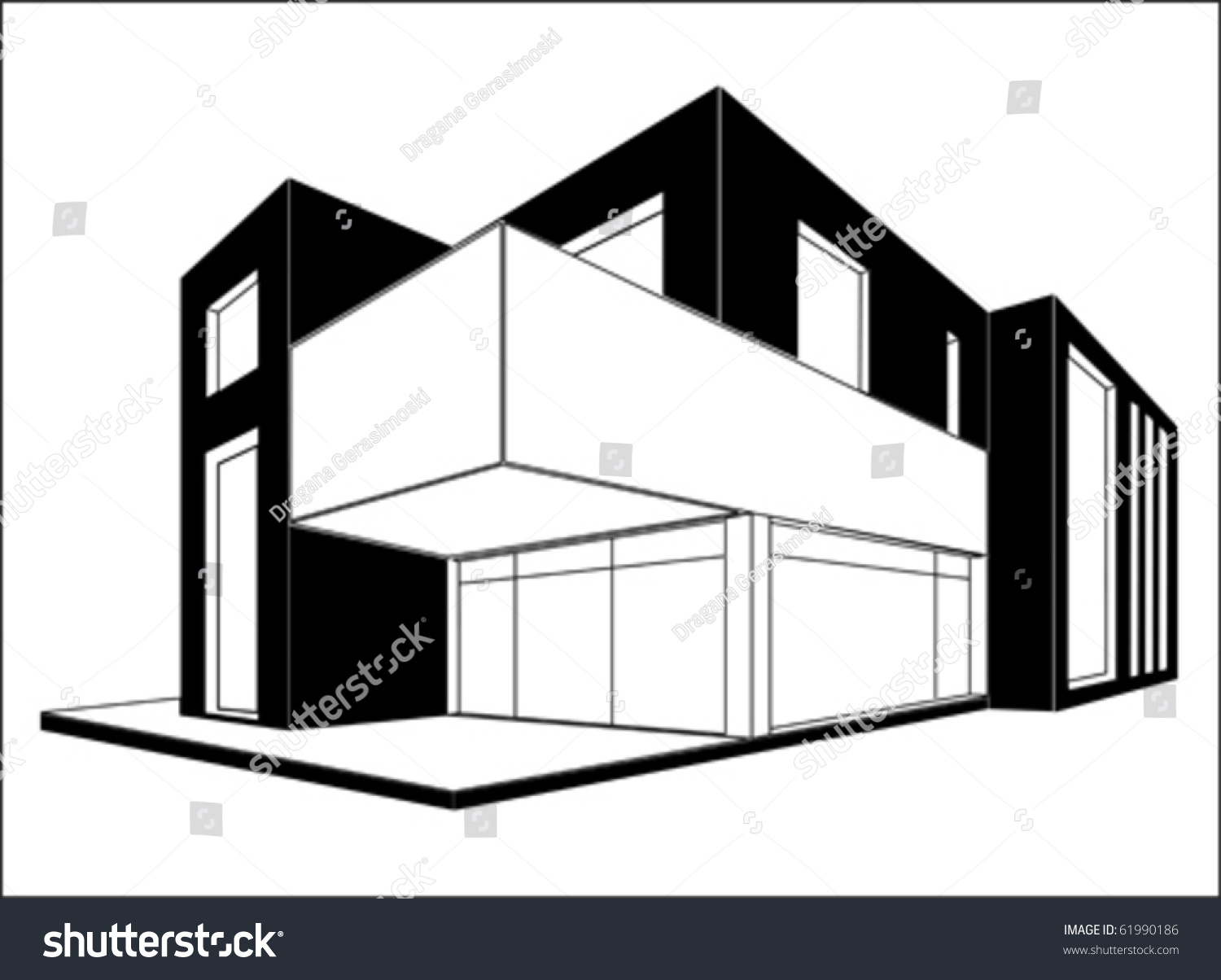 Modern house 3d drawing vector isolated on white