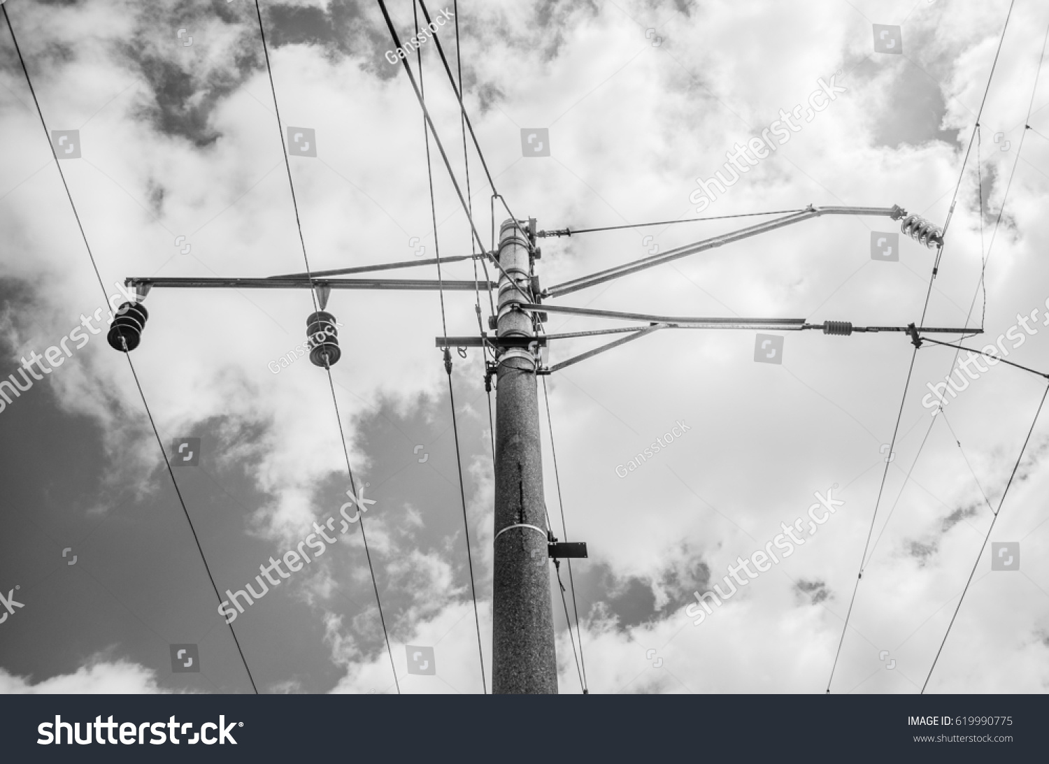 Railroad Overhead Lines Against Clear Blue Stock Photo (Royalty Free ...