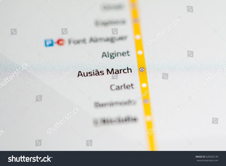 Ausias March Station Valencia Metro Map Stock Photo 620020139