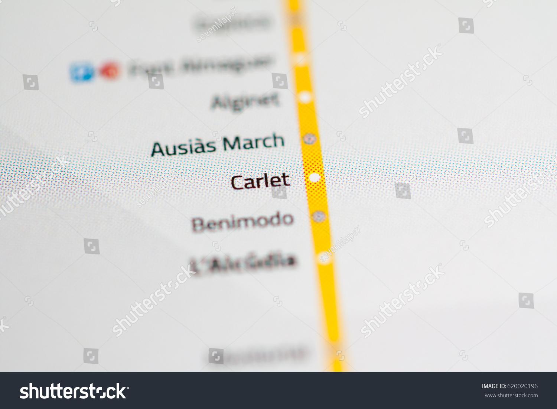 Carlet Station Valencia Metro Map Stock Photo Royalty Free