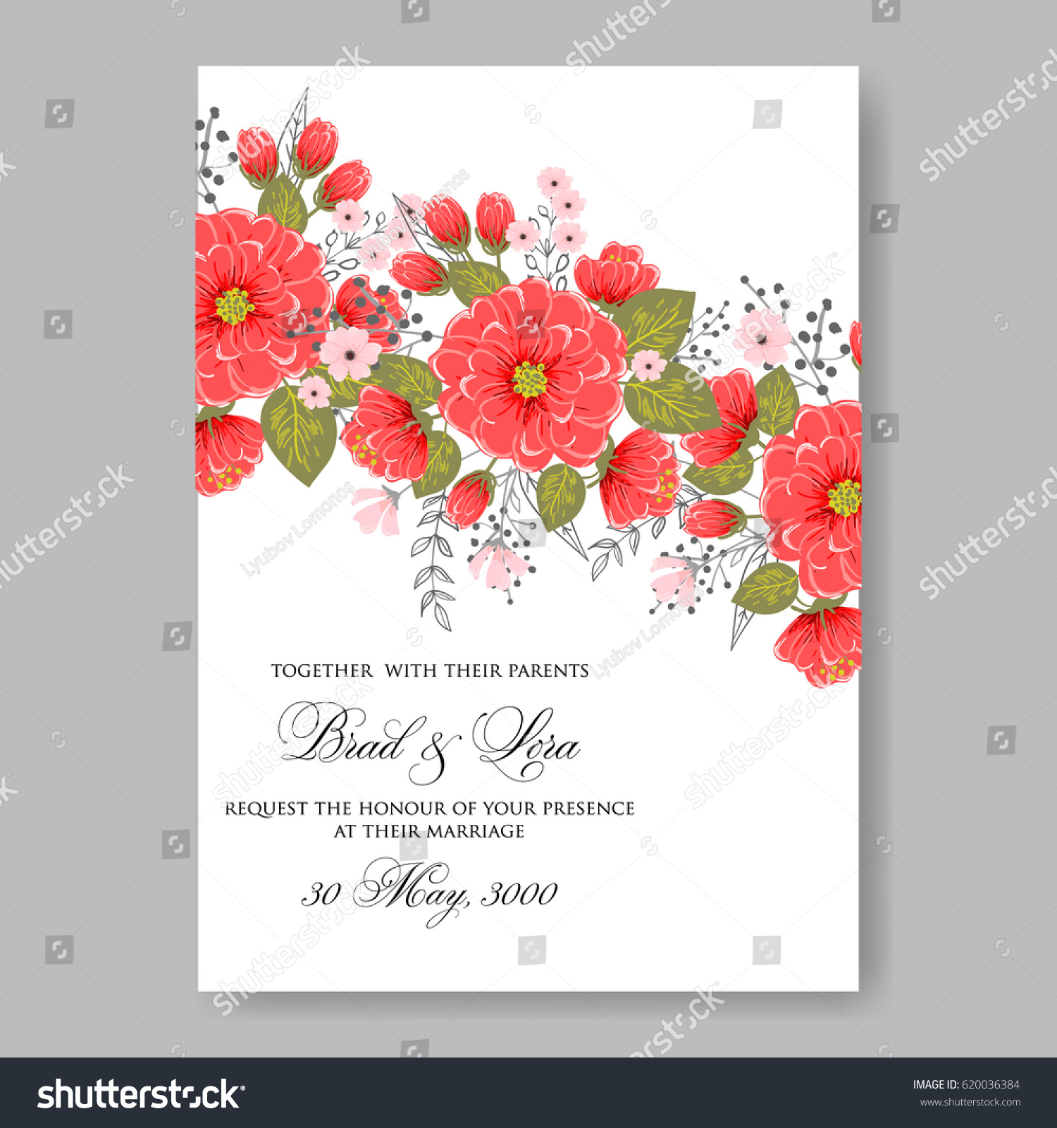 Wedding Invitation Card Template Red Peony Stock Vector HD (Royalty ...