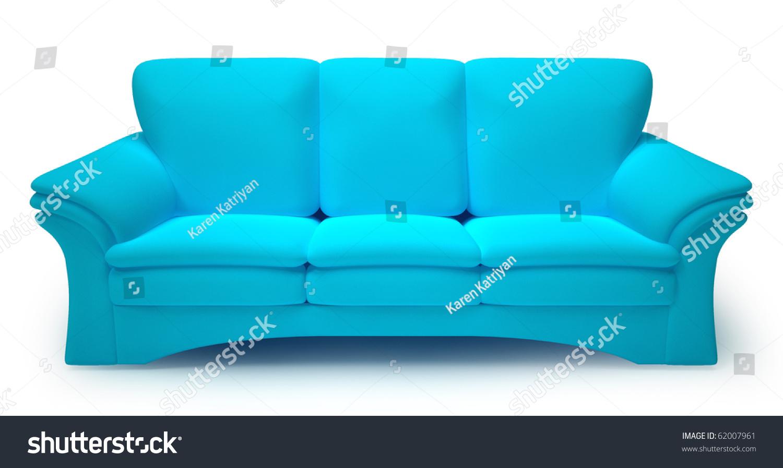 Cyan Sofa Isolated On White Background