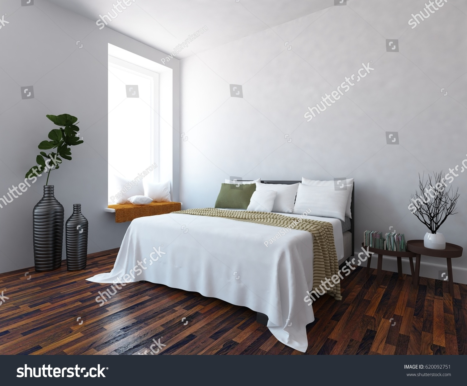 White Interior Design Of A Bedroom With Furniture. Scandinavian Interior  Design. 3d Illustration