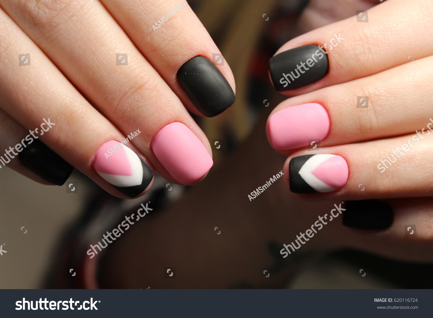 Manicure Design Matte Black Pink Nails Stock Photo & Image (Royalty ...