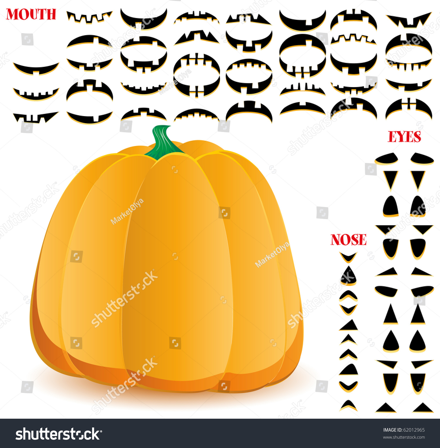 halloween pumpkin big set mouths eyes stock vector royalty free