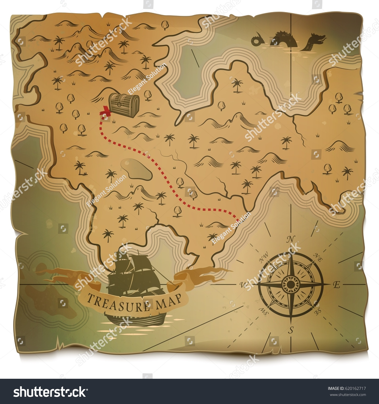 Antiques Us Maps With Compass Globalinterco - Us map w compas