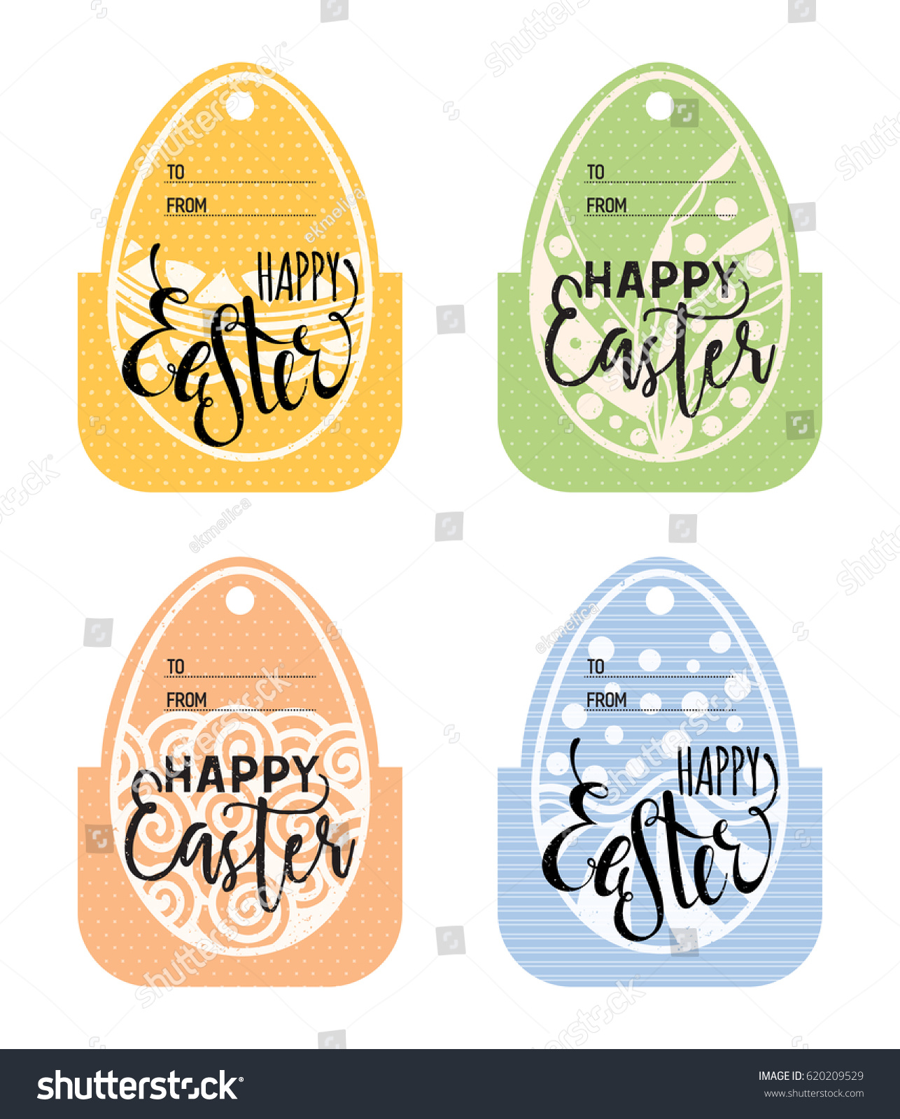 Set vintage easter gift tags happy stock vector 620209529 set of vintage easter gift tags happy easter lettering caption zentangle holiday design for negle Images