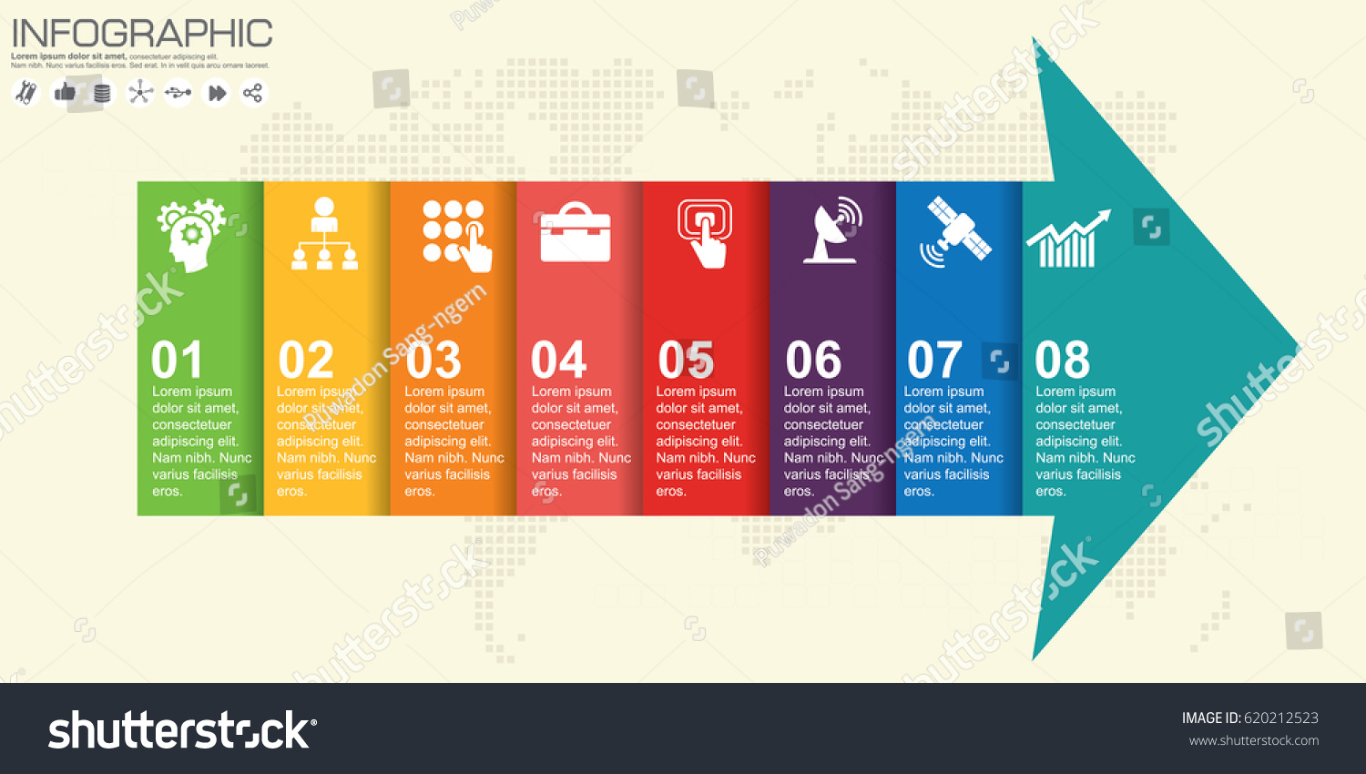 Infographic Business Horizontal Timeline Process Chart ...