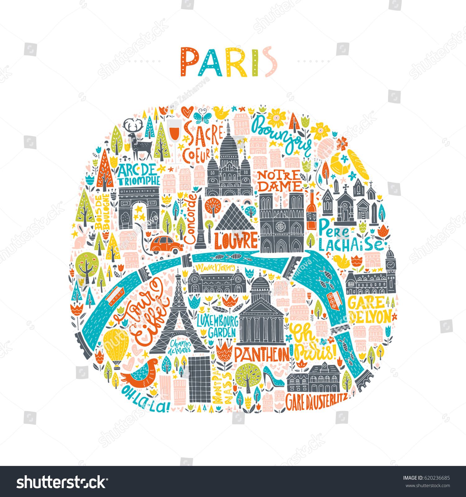 map paris drawn by hand illustration stock vector. Black Bedroom Furniture Sets. Home Design Ideas