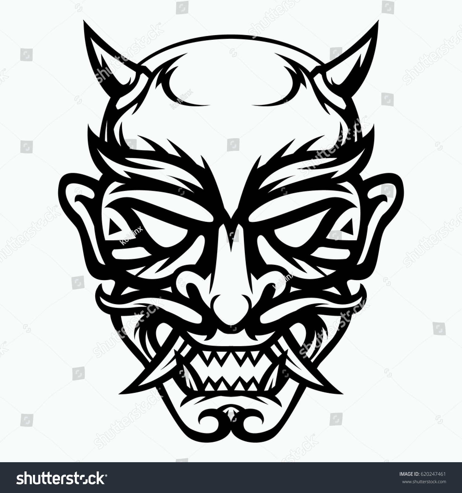 Japanese mask evil black white drawing stock vector 620247461 japanese mask of evil black and white drawing buycottarizona