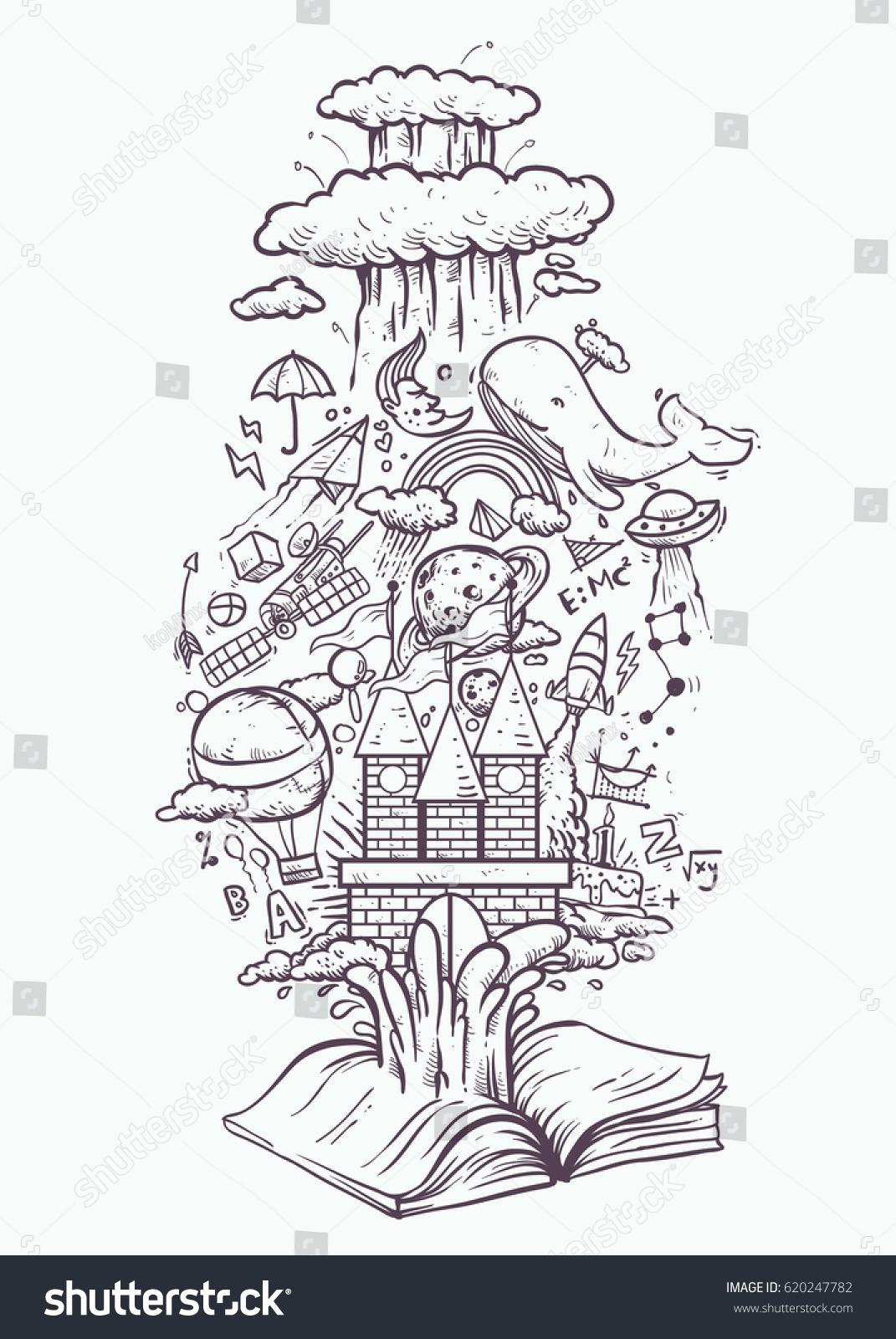 knowledge imagination fantasy book drawing black stock vector