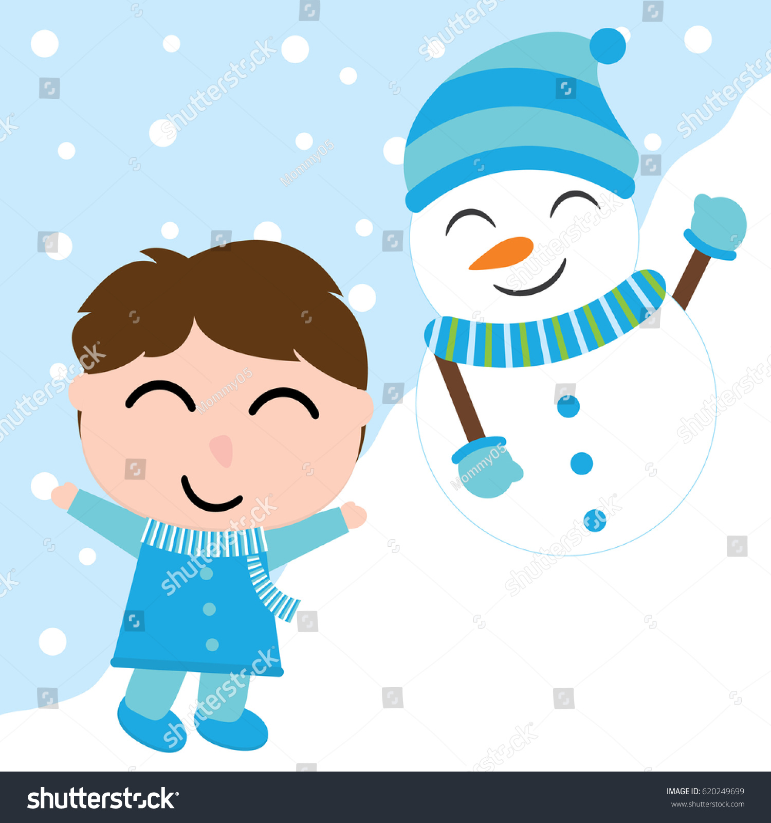 Cute Boy Snowman On Snow Background Stock Vector Royalty Free