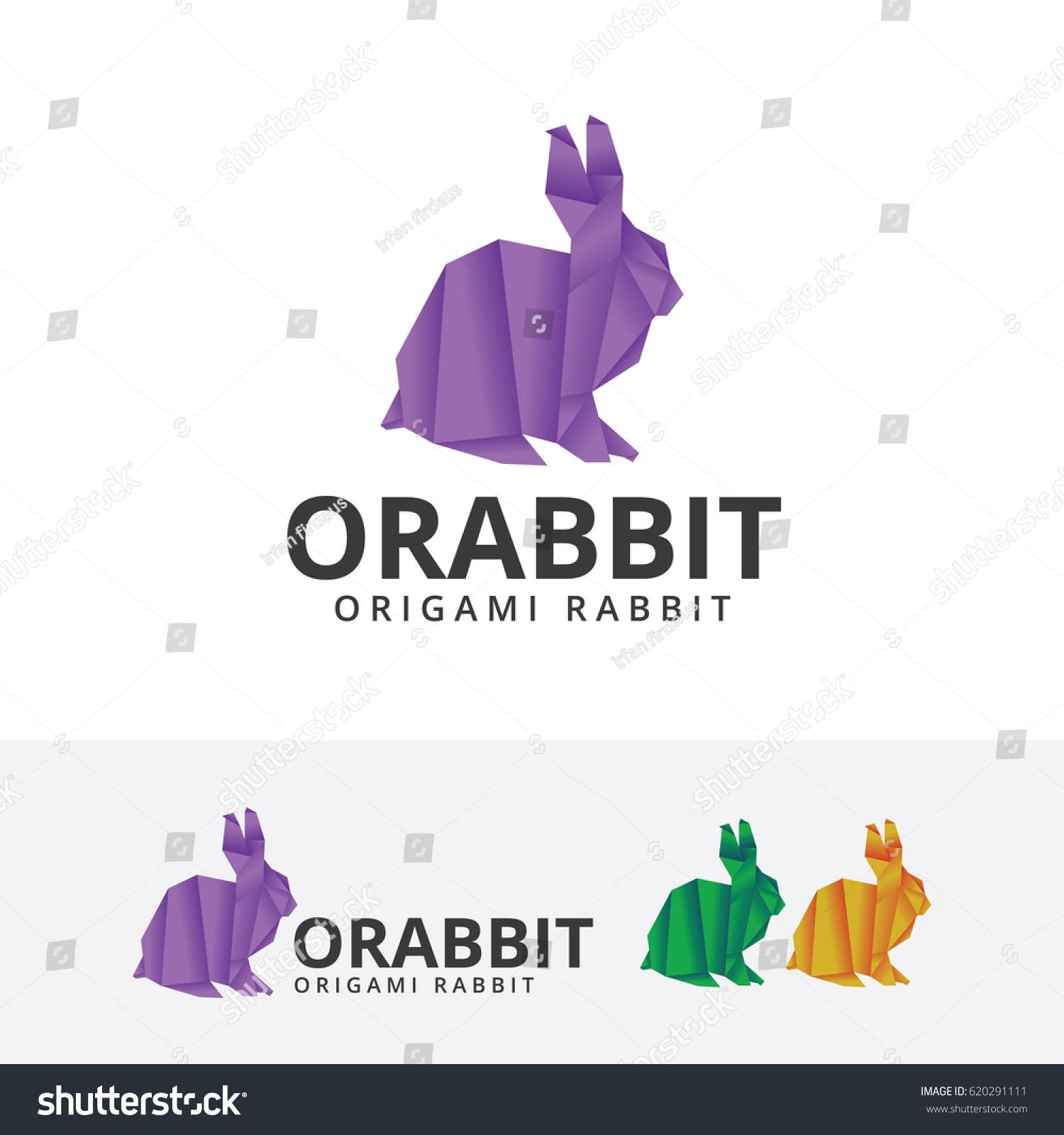 Origami Rabbit Vector Logo Template Stock Vector 620291111