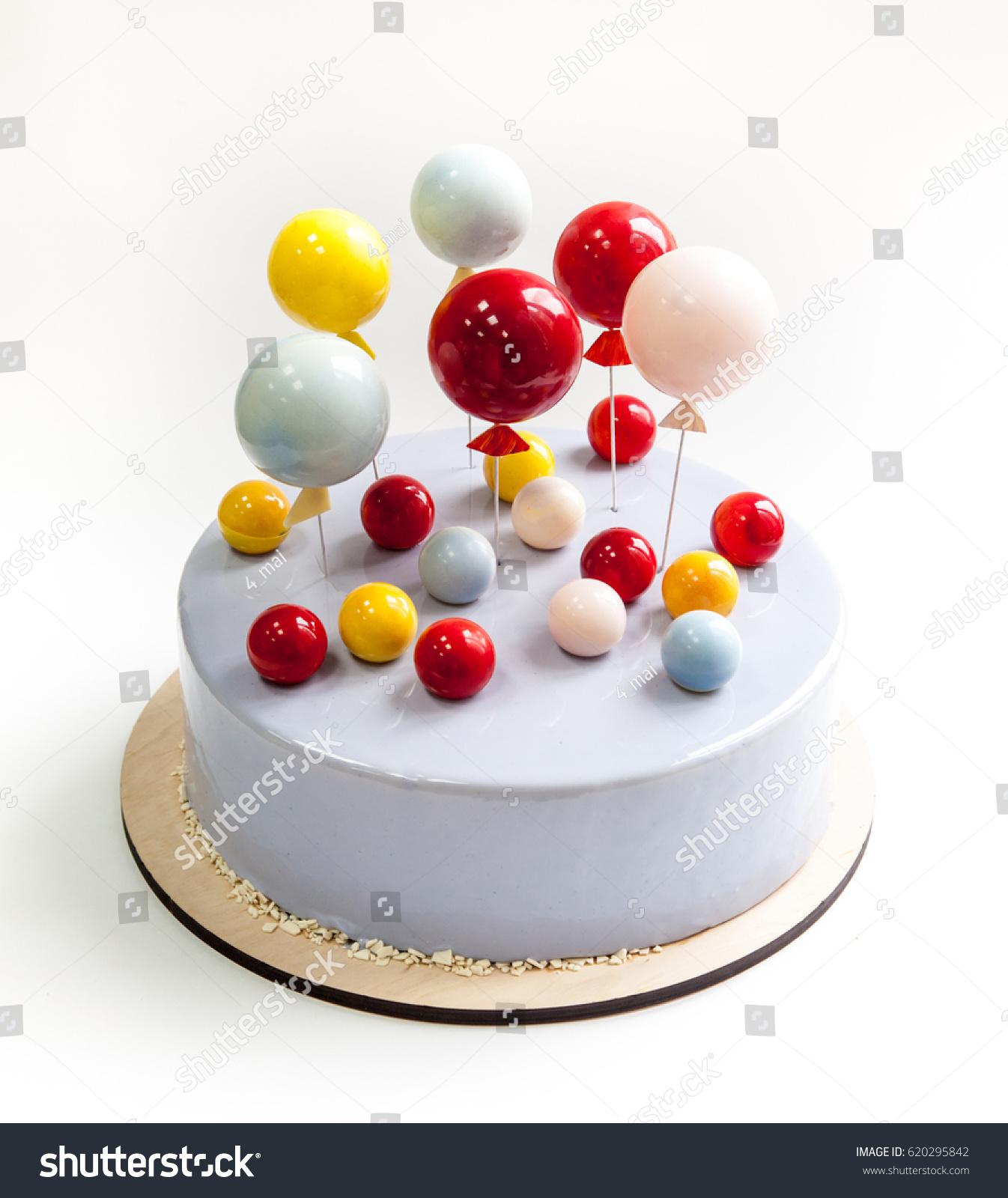 Birthday Cake Covered Light Blue Glaze Stock Photo Edit Now