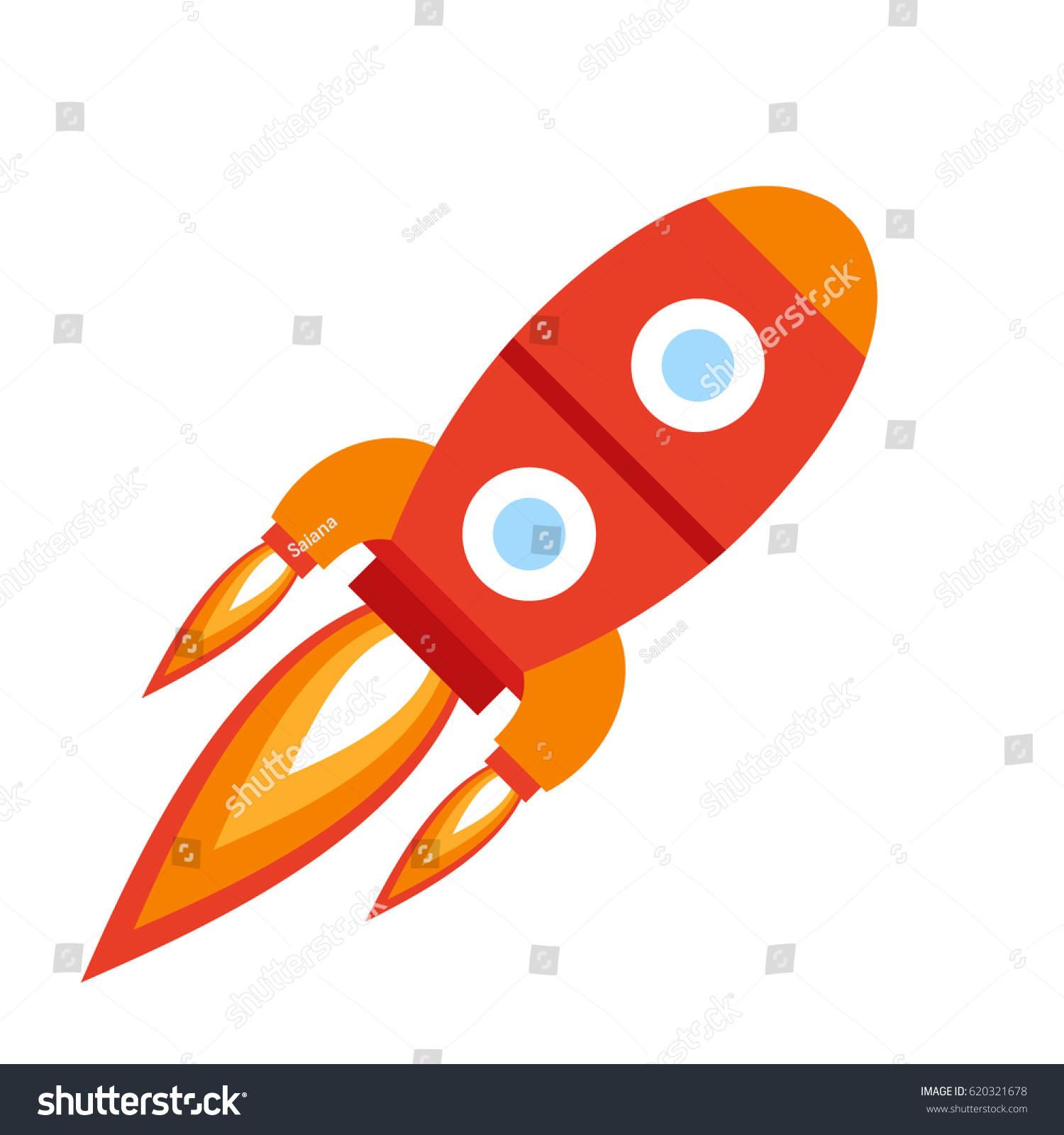 Red Rocket Icon Vector Illustra...