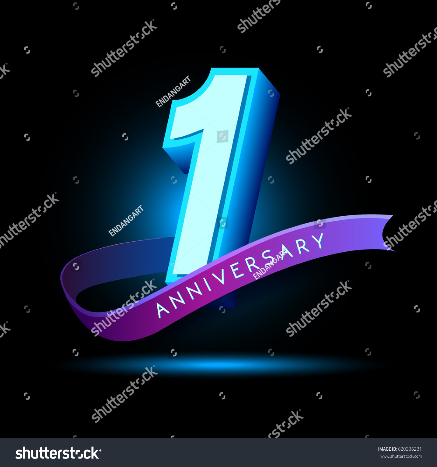 St anniversary d text glow effect stock vector