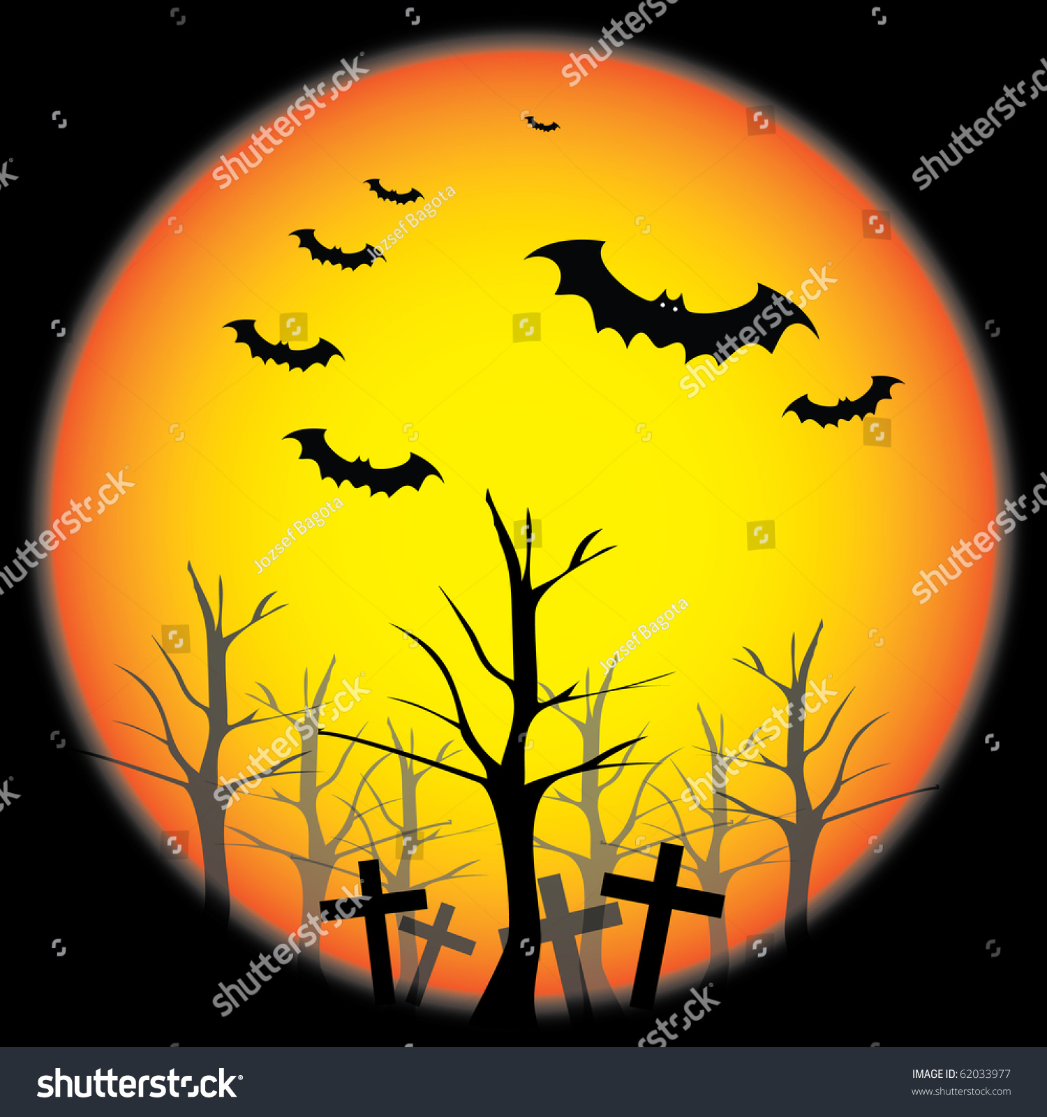 Halloween Background Template - Scary Flying Bats Over the Trees of ...