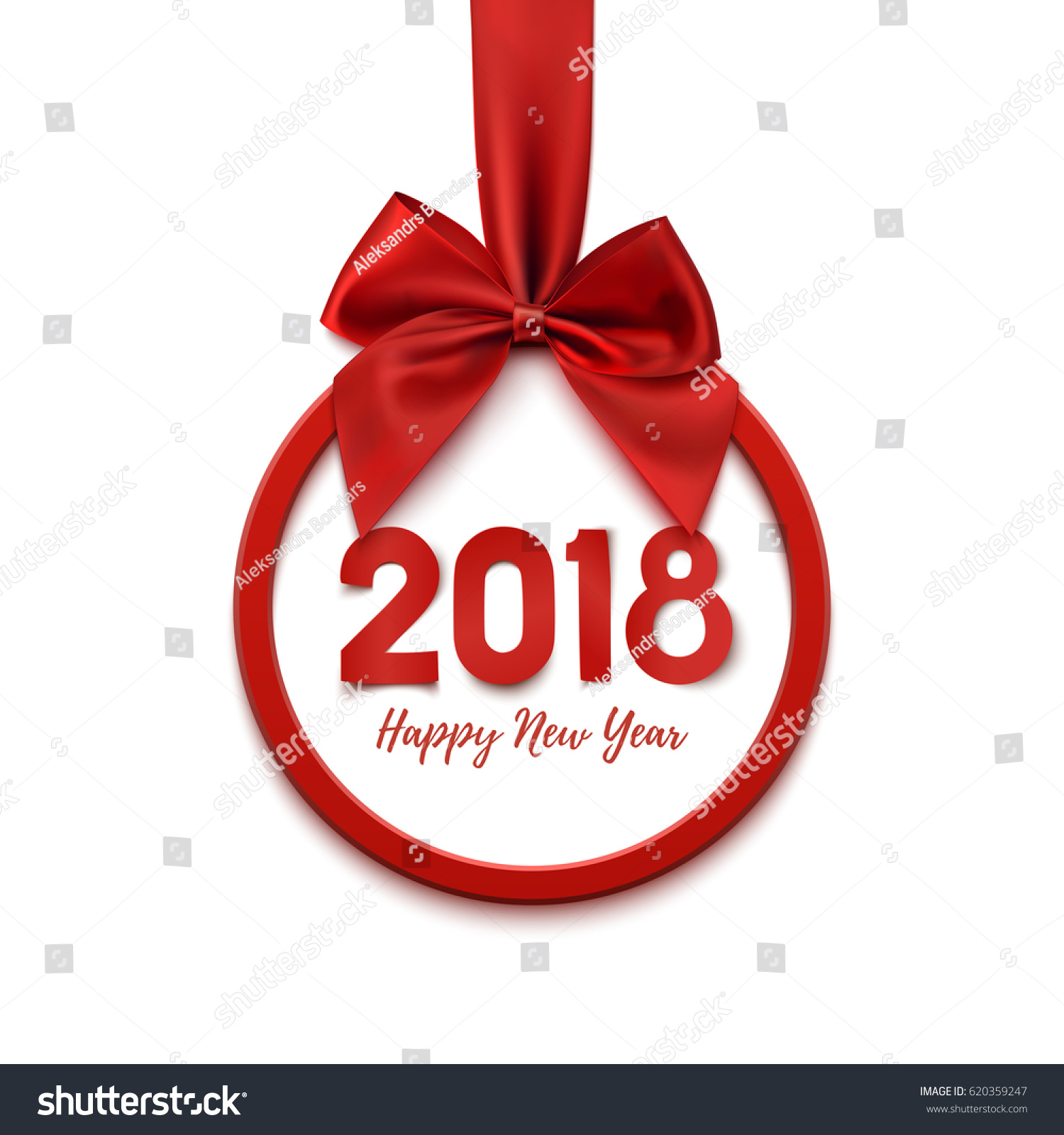 happy new year 2018 round banner with red ribbon and bow on white background