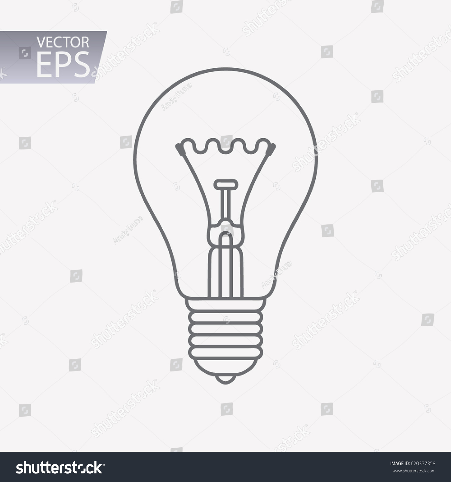 Light Bulb Icon Isolated On White Stock Vector Royalty Free