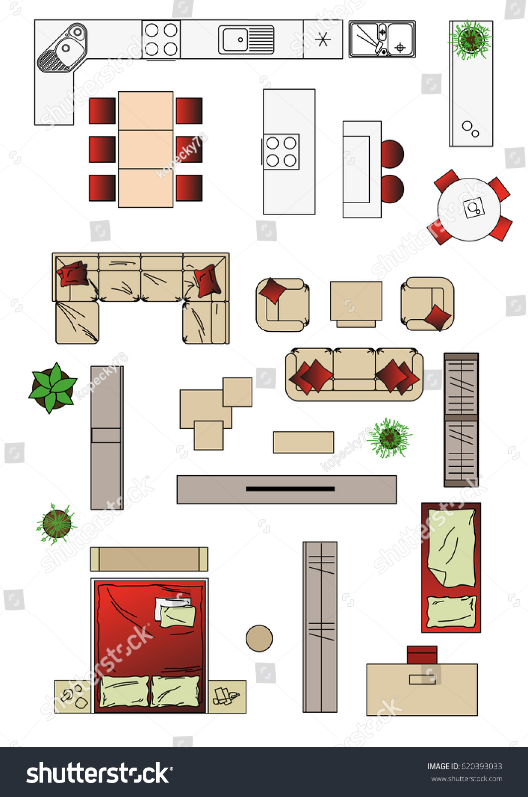 Illustration interior icons top view furniture stock for Interior design images vector