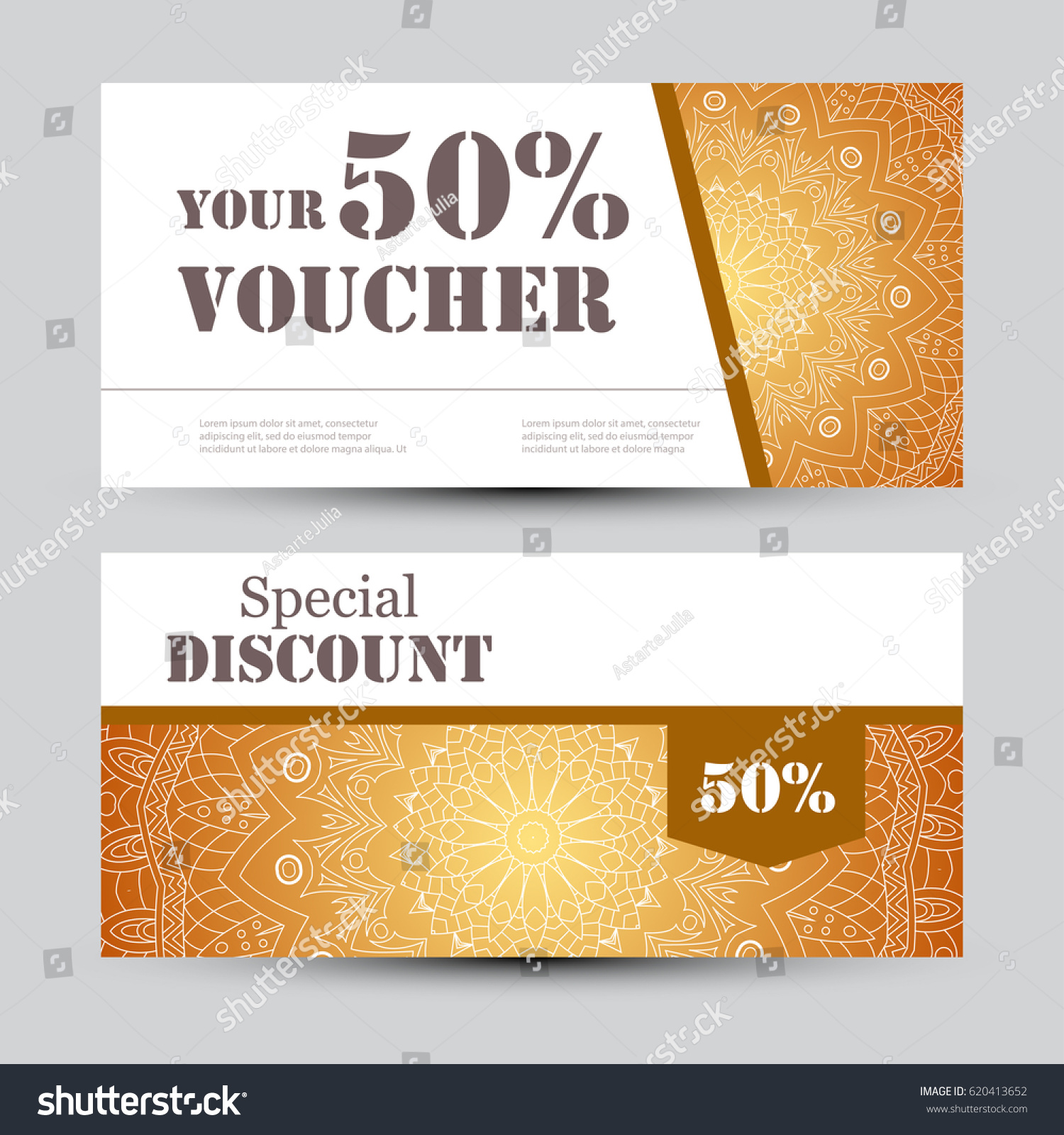 Gift voucher template mandala design certificate stock vector gift voucher template with mandala design certificate for sport or yoga center magazine or yadclub Images
