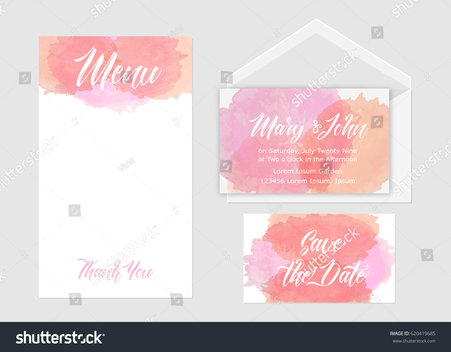 Wedding Invitation Set Three Cards Hand Stock Vector 620419685